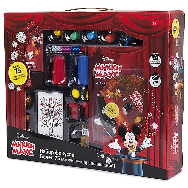 Набор для демонстрации фокусов Mickey Mouse (75 фокусов)Микки Маус и друзья<br>Такой набор для фокусов - отличный подарок для начинающих волшебников, поражающий воображение множеством приспособлений: карт, коробочек, кубиков, колец и даже шляпой!<br>Мастерское исполнение фокусов с наперстками и монетками, волшебной палочкой, магической вазой и всевозможные трюки на ловкость рук не вызовут сомнения, что перед Вами настоящий маленький фокусник и маг. Такие чудо превращения развивают творческое мышление, образное воображение, мелкую моторику и ловкость рук. <br>Набор выполнен из прочного и экологически чистого материала.<br><br>Дополнительная информация:<br><br>- Материал: нетоксичный пластик.<br>- Возраст ребёнка: от 6 лет.<br>- В наборе: 75 фокусов, подробная инструкция, иллюстрированный диск DVD.<br>- Размер упаковки: 27,5x6,5x33 см.<br><br>Купить набор для демонстрации фокусов Mickey Mouse  можно в нашем магазине.<br><br>Ширина мм: 275<br>Глубина мм: 65<br>Высота мм: 330<br>Вес г: 600<br>Возраст от месяцев: 72<br>Возраст до месяцев: 192<br>Пол: Унисекс<br>Возраст: Детский<br>SKU: 4753818