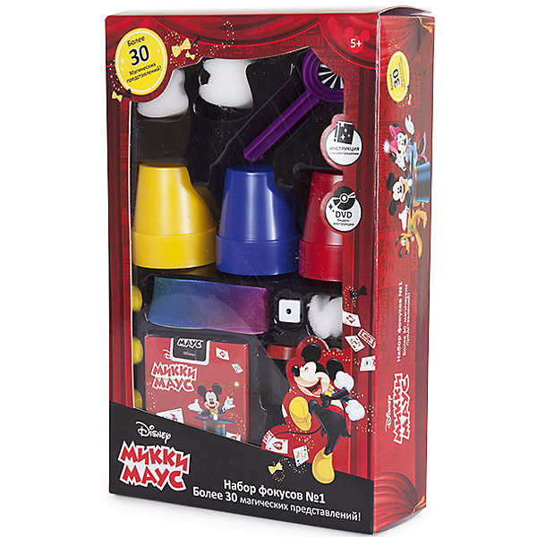 Набор для демонстрации фокусов Mickey Mouse (30 фокусов)Микки Маус и друзья<br>Такой набор для фокусов - отличный подарок для начинающих волшебников, поражающий воображение множеством приспособлений: карт, коробочек, кубиков, колец и даже шляпой!<br>Мастерское исполнение фокусов с наперстками и монетками, волшебной палочкой, магической вазой и всевозможные трюки на ловкость рук не вызовут сомнения, что перед Вами настоящий маленький фокусник и маг. Такие чудо превращения развивают творческое мышление, образное воображение, мелкую моторику и ловкость рук. <br>Набор выполнен из прочного и экологически чистого материала.<br><br>Набор содержит весь необходимый реквизит, подробную инструкцию с техникой выполнения трюков и видео-инструкцию на DVD диске.<br><br>Дополнительная информация:<br><br>- Материал: нетоксичный пластик.<br>- Возраст ребёнка: от 6 лет.<br>- В наборе: реквизит для показа фокусов (30 предмета), инструкция и DVD диск.<br>- Размер упаковки: 17х6,5х27 см.<br><br>Купить набор для демонстрации фокусов Mickey Mouse  можно в нашем магазине.<br>Ширина мм: 17; Глубина мм: 65; Высота мм: 270; Вес г: 325; Возраст от месяцев: 72; Возраст до месяцев: 192; Пол: Унисекс; Возраст: Детский; SKU: 4753819;