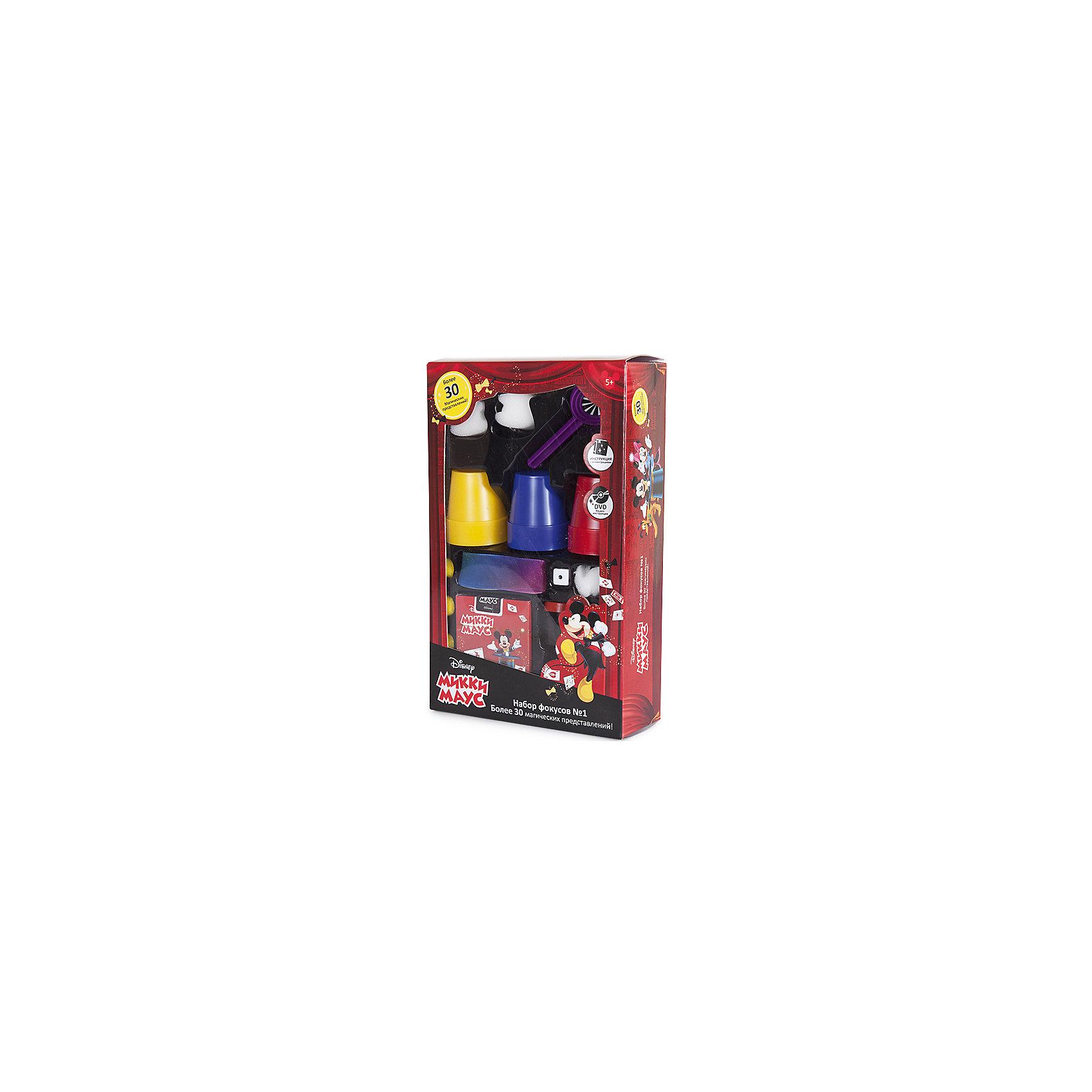 Набор для демонстрации фокусов Mickey Mouse (30 фокусов)Игры-фокусы<br>Такой набор для фокусов - отличный подарок для начинающих волшебников, поражающий воображение множеством приспособлений: карт, коробочек, кубиков, колец и даже шляпой!<br>Мастерское исполнение фокусов с наперстками и монетками, волшебной палочкой, магической вазой и всевозможные трюки на ловкость рук не вызовут сомнения, что перед Вами настоящий маленький фокусник и маг. Такие чудо превращения развивают творческое мышление, образное воображение, мелкую моторику и ловкость рук. <br>Набор выполнен из прочного и экологически чистого материала.<br><br>Набор содержит весь необходимый реквизит, подробную инструкцию с техникой выполнения трюков и видео-инструкцию на DVD диске.<br><br>Дополнительная информация:<br><br>- Материал: нетоксичный пластик.<br>- Возраст ребёнка: от 6 лет.<br>- В наборе: реквизит для показа фокусов (30 предмета), инструкция и DVD диск.<br>- Размер упаковки: 17х6,5х27 см.<br><br>Купить набор для демонстрации фокусов Mickey Mouse  можно в нашем магазине.<br><br>Ширина мм: 17<br>Глубина мм: 65<br>Высота мм: 270<br>Вес г: 325<br>Возраст от месяцев: 72<br>Возраст до месяцев: 192<br>Пол: Унисекс<br>Возраст: Детский<br>SKU: 4753819