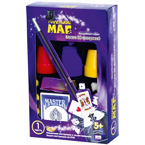 Набор  для демонстрации 30 фокусов Маленький магФокусы и розыгрыши<br>Первым шагом к покорению искусства магии и чародейства станет приобретение универсального игрового набора из серии Маленький маг. Для демонстрации 30 фокусов в комплекте предусмотрены все необходимые игровые элементы и аксессуары в виде: пластиковых стаканчиков, больших и маленьких сосудов с крышечками, фигурок больших и маленьких кроликов из поролона, поролоновых шариков и кубика, колоды магических карт, и многого другого, не менее интересного, а также пошаговая инструкция с иллюстрациями. Детально ознакомившись с инструкцией и используя входящие в комплект игровые элементы, Ваш ребёнок сможет провести ряд увлекательных фокусов: Волшебные кролики, Фокусы с лопаткой и фальшивым большим пальцем, Применение меченой колоды, Чтение чужих мыслей, Манипуляции с монеткой. <br><br>Такой набор благоприятно воздействует на образное и пространственное воображение, память, зрительно-тактильное восприятие, мелкую моторику и проявление творческих идей и фантазий.<br><br>Техника исполнения фокусов описана в русскоязычной инструкции.<br><br>Дополнительная информация:<br><br>- Материал: нетоксичный пластик, картон.<br>- Возраст ребёнка: от 5 лет.<br>- В комплекте: игровые аксессуары, подробная инструкция.<br>- Размеры упаковки: 17x6,5x27 см.<br><br>Купить набор  для демонстрации 30 фокусов Маленький маг можно в нашем магазине.<br><br>Ширина мм: 170<br>Глубина мм: 270<br>Высота мм: 65<br>Вес г: 350<br>Возраст от месяцев: 72<br>Возраст до месяцев: 192<br>Пол: Унисекс<br>Возраст: Детский<br>SKU: 4753823