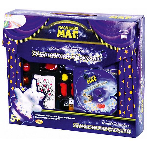 Набор  для демонстрации 75 фокусов Маленький магФокусы и розыгрыши<br>Фокусы с напёрстками, волшебная ваза, меченая колода карт, позволяющая творить настоящую магию - ещё и не такое возможно с набором 75 фокусов. В русскоязычной инструкции описывается технология каждого фокуса, по шагам и с картинками. Постичь магию фокусов теперь крайне просто - достаточно усидчивости и внимательности.<br>Набор Маленький маг будет интересна и детям, и взрослым. Первым она поможет завоевать авторитет и восхищение среди друзей, которые наверняка видели такое только в цирке, а вторым - разнообразить обычные дружеские посиделки интересной игрой.<br><br>В комплекте DVD с демонстрацией самых интересных фокусов - учитесь у профессионалов!<br><br>Дополнительная информация:<br><br>- Материал: нетоксичный пластик.<br>- Возраст ребёнка: от 6 лет.<br>- В наборе: 75 фокусов, подробная инструкция, иллюстрированный диск DVD.<br>- Размер упаковки: 27,5x6,5x33 см.<br><br>Купить набор  для демонстрации 75 фокусов Маленький маг можно в нашем магазине.<br><br>Ширина мм: 275<br>Глубина мм: 65<br>Высота мм: 330<br>Вес г: 560<br>Возраст от месяцев: 72<br>Возраст до месяцев: 192<br>Пол: Унисекс<br>Возраст: Детский<br>SKU: 4753825