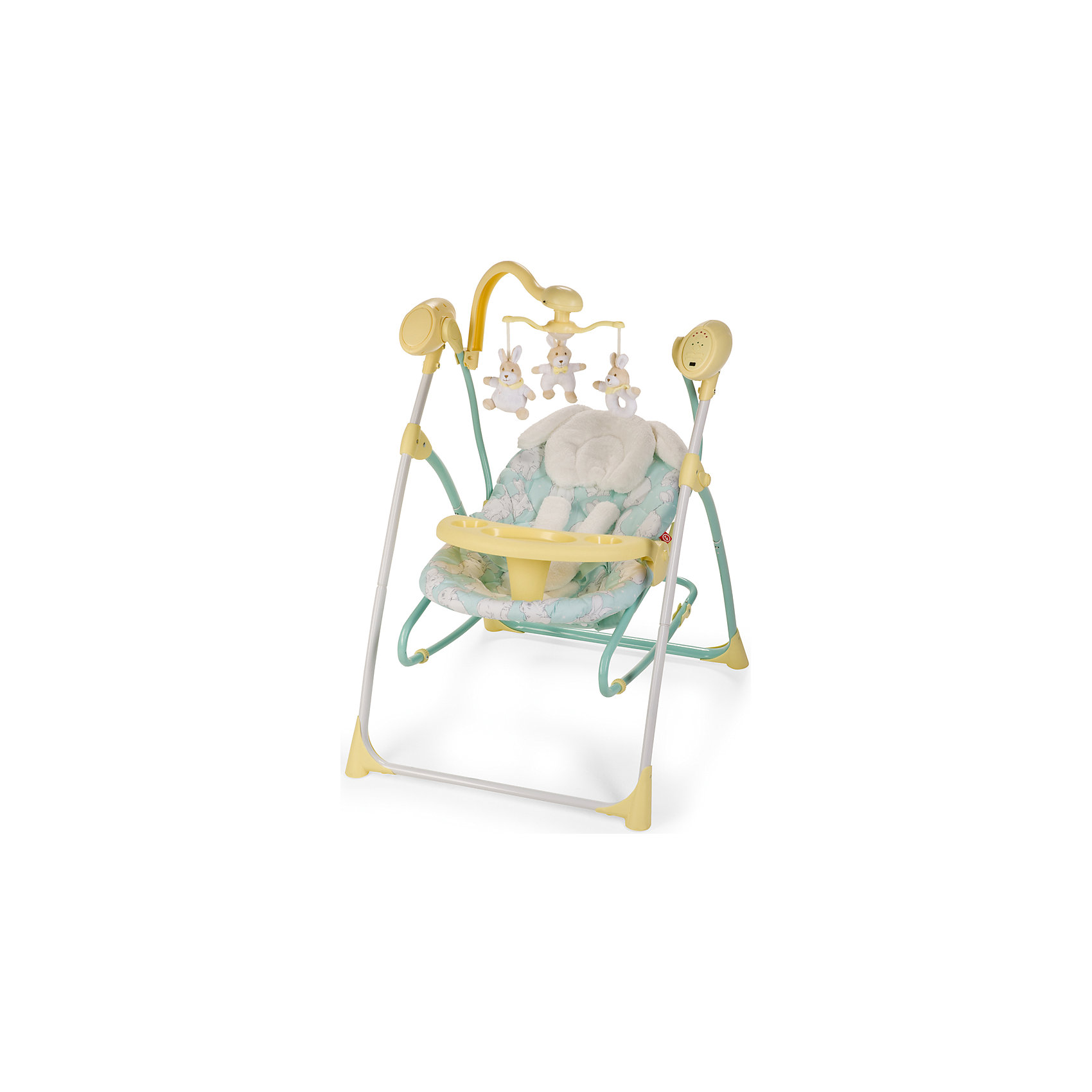 Электрокачели Luffy, Happy Baby, желтыйКачели электронные<br>Электрокачели Luffy, Happy Baby, желтый – идеально подходят для активного бодрствования, развивающих игр, отдыха и дневного сна малыша.<br>Электрокачели Luffy — лучший помощник для мамы, начиная с первых дней жизни ребенка. Вы можете подобрать идеальное положение спинки, которое обеспечит малышу комфорт для сна или бодрствования. 3 положения спинки меняются одной рукой. Пять скоростей укачивания помогут выбрать оптимальный и комфортный вариант для вашего малыша. Двенадцать мелодий, а также наборы звуков природы развеселят или успокоят, а также помогут развитию слуха ребенка. Электронный съемный мобиль со съемными игрушками заинтересует кроху, поможет развитию его зрительных навыков. Имеется таймер со светодиодной подсветкой на 15, 30 и 60 минут, который поможет маме заниматься своими неотложными делами. Пушистая подушка под головку с ушками превратит малыша в милого зайчонка. Данная модель может использоваться и как шезлонг, для чего достаточно просто снять люльку с опоры качелей. Также в комплекте есть съемный столик с подстаканником для еды и игр, что очень удобно, когда мама начнет вводить первый прикорм, и малыш будет дольше бодрствовать. Чехол легко снимается, стирается, а сами качели легко складываются и не занимают много места в квартире. Работают либо от сети (адаптер входит в комплект), либо от 4 батареек.<br><br>Дополнительная информация:<br><br>- Возраст: с рождения<br>- Максимальный вес ребенка: 9 кг.<br>- Цвет: желтый<br>- В комплекте: подушечка под голову, адаптер, электронный мобиль с игрушками<br>- 5-точечные ремни безопасности, с мягкими накладками<br>- Разделитель для ножек<br>- Съемный электронный мобиль работает от 2 батареек типа АА<br>- 17 мелодий из них 5 звуков природы с регулировкой громкости<br>- Удобная съемная подушечка под голову<br>- Ширина посадочного места: 24 см.<br>- Глубина посадочного места: 30 см.<br>- Длина спального места: 83 см.<br>- Размеры в разложенном виде: 78х66