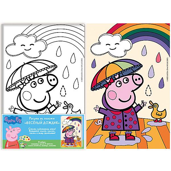 Роспись по холсту Веселый дождик, Свинка Пеппа