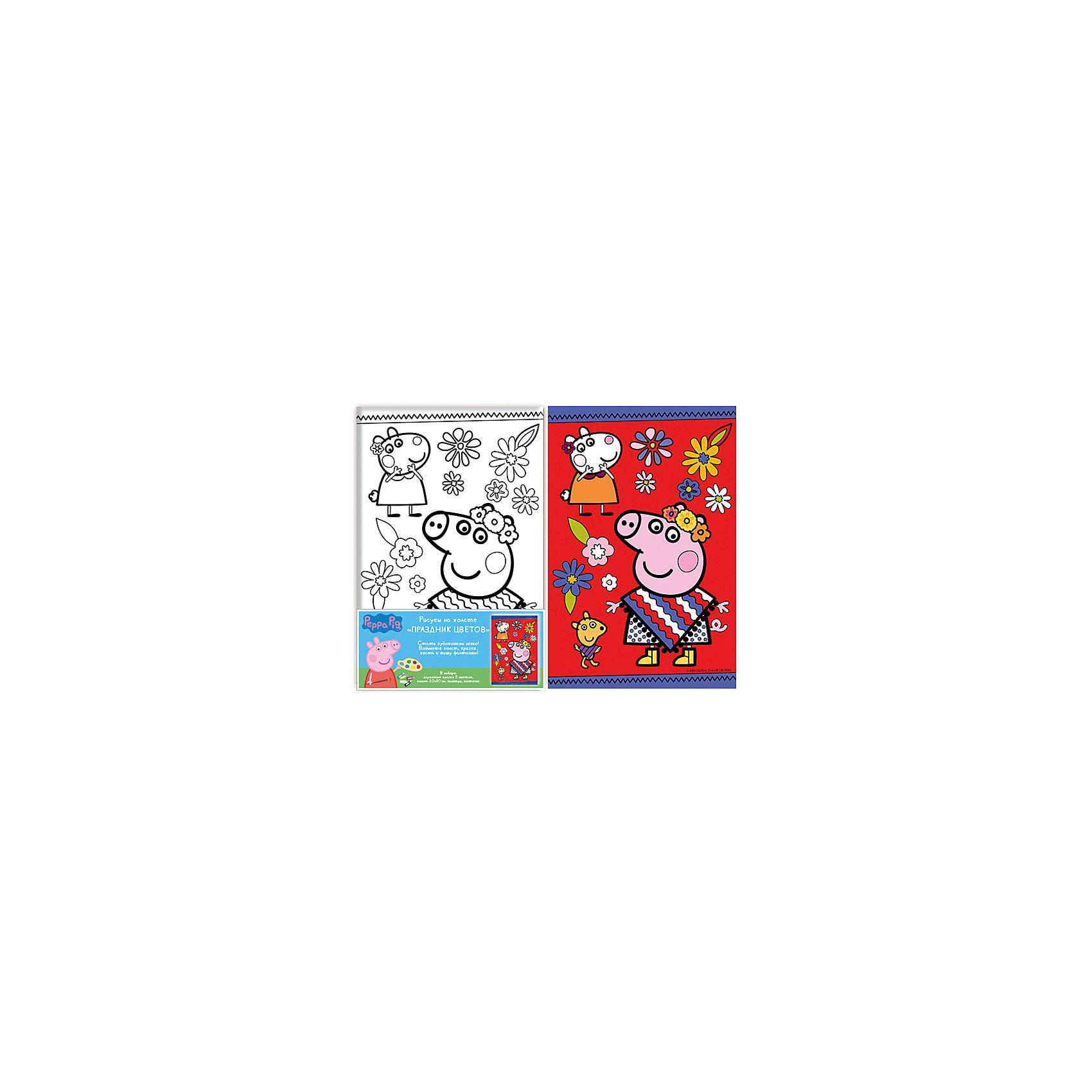 Роспись по холсту Праздник цветов, Свинка ПеппаСвинка Пеппа<br>Роспись по холсту - это очень интересный вид деятельности, который придется по вкусу любому ребенку! Даже если ты еще не очень хорошо рисуешь, у тебя есть возможность почувствовать себя настоящим художником и создать прекрасную картину! Надо лишь раскрасить уже готовый рисунок и твой шедевр готов! В наборе есть уже все необходимое для творчества. Акриловые краски - нетоксичные и абсолютно безопасные, они прекрасно ложатся на холст и легко смываются с рук и одежды. Если цвет нанесен неверно, просто подождите пока краска высохнет и нанесите новый цвет на подсохшую поверхность. <br>Рисование и раскрашивание играют важную роль в развитии фантазии, моторики, художественного вкуса, воображения и внимания. Картина с изображением очаровательной свинки Пеппы станет прекрасным украшением детской или замечательным подарком, сделанным своими руками. <br><br>Дополнительная информация:<br><br>- Материал: пластик, краски, картон, текстиль. <br>- Комплектация: 5 цветов акриловых красок в металлических тубах; палитра; кисточка.<br>- Размер холста: 20х30 см.<br>- Краски можно смешивать, получая новые цвета и оттенки. <br><br>Роспись по холсту Праздник цветов, Свинка Пеппа (Peppa Pig) можно купить в нашем магазине.<br><br>Ширина мм: 200<br>Глубина мм: 300<br>Высота мм: 15<br>Вес г: 230<br>Возраст от месяцев: 60<br>Возраст до месяцев: 2147483647<br>Пол: Унисекс<br>Возраст: Детский<br>SKU: 4756161