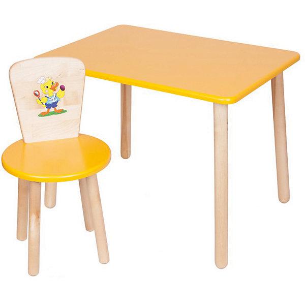 Набор: стол и стул, Русэкомебель, желтыйДетские столы и стулья<br>Набор мебели Эко от известного производителя Русэкомебель - практичный и красивый комплект, состоящий из стола и стула. Яркая мебель прекрасно впишется в интерьер детской и обязательно понравится вашему ребенку. Стул и стол не имеют острых углов, которые могут травмировать малышей. Гладкая поверхность столешницы и сиденья позволяет легко устранять любые загрязнения. Стол прямоугольной формы идеально подойдет для занятий, игр и творчества. Набор выполнен из высококачественных материалов, раскрашен безопасными, экологичными и нетоксичными красителями. <br><br>Дополнительная информация:<br><br>- Комплектация: стол, стул.<br>- Материал: дерево (береза), МДФ.<br>- Не имеет острых углов. <br>- Размер столешницы: 45x60 см. <br>- Высота стола: 52 см.<br>- Диаметр стула: 31 см. <br>- Высота стула: 57 см.<br>- Высота стула (от пола до сиденья): 32 см.<br><br>Набор мебели Эко № 1, желтый, можно купить в нашем магазине.<br><br>Ширина мм: 730<br>Глубина мм: 530<br>Высота мм: 140<br>Вес г: 8400<br>Цвет: желтый<br>Возраст от месяцев: 24<br>Возраст до месяцев: 84<br>Пол: Унисекс<br>Возраст: Детский<br>SKU: 4756475