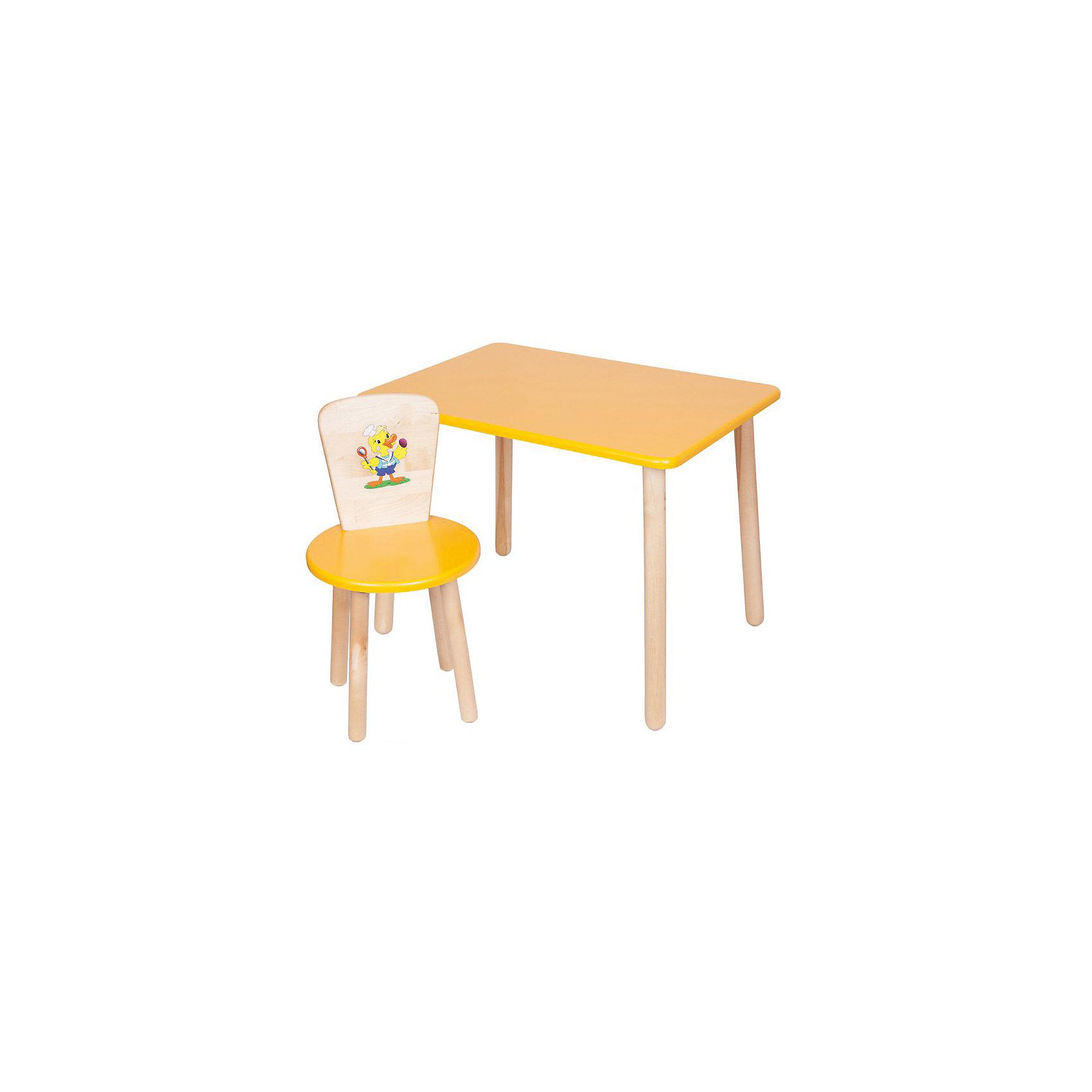 Набор мебели Эко № 1, желтыйНабор мебели Эко от известного производителя Русэкомебель - практичный и красивый комплект, состоящий из стола и стула. Яркая мебель прекрасно впишется в интерьер детской и обязательно понравится вашему ребенку. Стул и стол не имеют острых углов, которые могут травмировать малышей. Гладкая поверхность столешницы и сиденья позволяет легко устранять любые загрязнения. Стол прямоугольной формы идеально подойдет для занятий, игр и творчества. Набор выполнен из высококачественных материалов, раскрашен безопасными, экологичными и нетоксичными красителями. <br><br>Дополнительная информация:<br><br>- Комплектация: стол, стул.<br>- Материал: дерево (береза), МДФ.<br>- Не имеет острых углов. <br>- Размер столешницы: 45x60 см. <br>- Высота стола: 52 см.<br>- Диаметр стула: 31 см. <br>- Высота стула: 57 см.<br>- Высота стула (от пола до сиденья): 32 см.<br><br>Набор мебели Эко № 1, желтый, можно купить в нашем магазине.<br><br>Ширина мм: 730<br>Глубина мм: 530<br>Высота мм: 140<br>Вес г: 8400<br>Возраст от месяцев: 24<br>Возраст до месяцев: 84<br>Пол: Унисекс<br>Возраст: Детский<br>SKU: 4756475