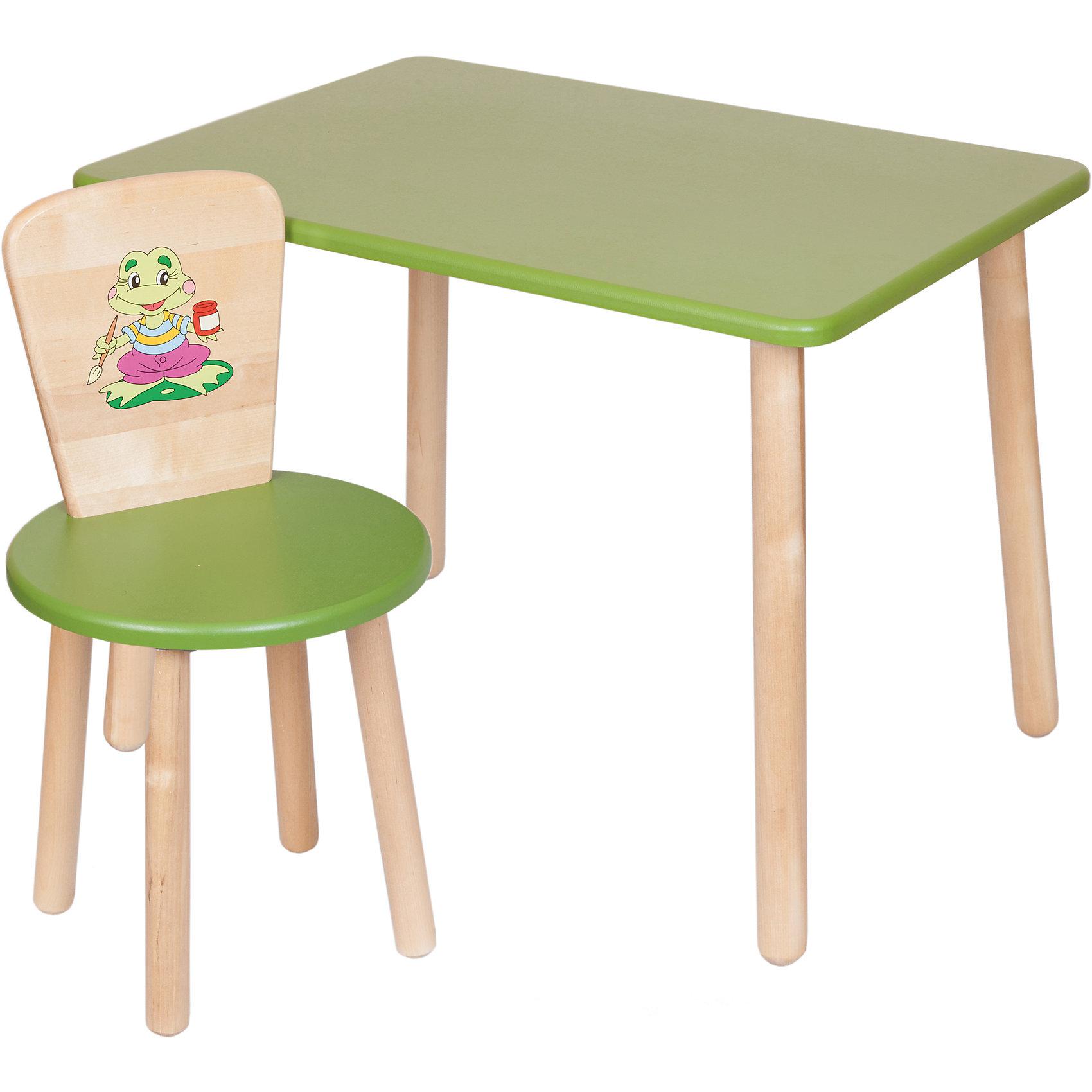 Набор: стол и стул, Русэкомебель, зеленыйДетские столы и стулья<br>Набор мебели Эко от известного производителя Русэкомебель - практичный и красивый комплект, состоящий из стола и стула. Яркая мебель прекрасно впишется в интерьер детской и обязательно понравится вашему ребенку. Стул и стол не имеют острых углов, которые могут травмировать малышей. Гладкая поверхность столешницы и сиденья позволяет легко устранять любые загрязнения. Стол прямоугольной формы идеально подойдет для занятий, игр и творчества. Набор выполнен из высококачественных материалов, раскрашен безопасными, экологичными и нетоксичными красителями. <br><br>Дополнительная информация:<br><br>- Комплектация: стол, стул.<br>- Материал: дерево (береза), МДФ.<br>- Не имеет острых углов. <br>- Размер столешницы: 45x60 см. <br>- Высота стола: 52 см.<br>- Диаметр стула: 31 см. <br>- Высота стула: 57 см.<br>- Высота стула (от пола до сиденья): 32 см.<br><br>Набор мебели Эко № 1, зеленый, можно купить в нашем магазине.<br><br>Ширина мм: 730<br>Глубина мм: 530<br>Высота мм: 140<br>Вес г: 8400<br>Возраст от месяцев: 24<br>Возраст до месяцев: 84<br>Пол: Унисекс<br>Возраст: Детский<br>SKU: 4756476