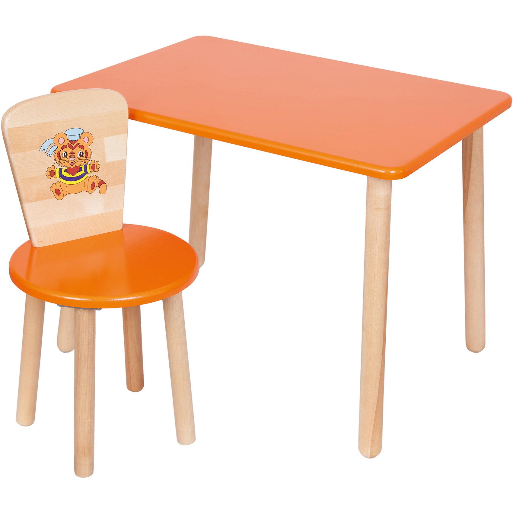 Набор: стол и стул, Русэкомебель, оранжевыйДетские столы и стулья<br>Набор мебели Эко от известного производителя Русэкомебель - практичный и красивый комплект, состоящий из стола и стула. Яркая мебель прекрасно впишется в интерьер детской и обязательно понравится вашему ребенку. Стул и стол не имеют острых углов, которые могут травмировать малышей. Гладкая поверхность столешницы и сиденья позволяет легко устранять любые загрязнения. Стол прямоугольной формы идеально подойдет для занятий, игр и творчества. Набор выполнен из высококачественных материалов, раскрашен безопасными, экологичными и нетоксичными красителями. <br><br>Дополнительная информация:<br><br>- Комплектация: стол, стул.<br>- Материал: дерево (береза), МДФ.<br>- Не имеет острых углов. <br>- Размер столешницы: 45x60 см. <br>- Высота стола: 52 см.<br>- Диаметр стула: 31 см. <br>- Высота стула: 57 см.<br>- Высота стула (от пола до сиденья): 32 см.<br><br>Набор мебели Эко № 1, оранжевый, можно купить в нашем магазине.<br><br>Ширина мм: 730<br>Глубина мм: 530<br>Высота мм: 140<br>Вес г: 8400<br>Цвет: оранжевый<br>Возраст от месяцев: 24<br>Возраст до месяцев: 84<br>Пол: Унисекс<br>Возраст: Детский<br>SKU: 4756477
