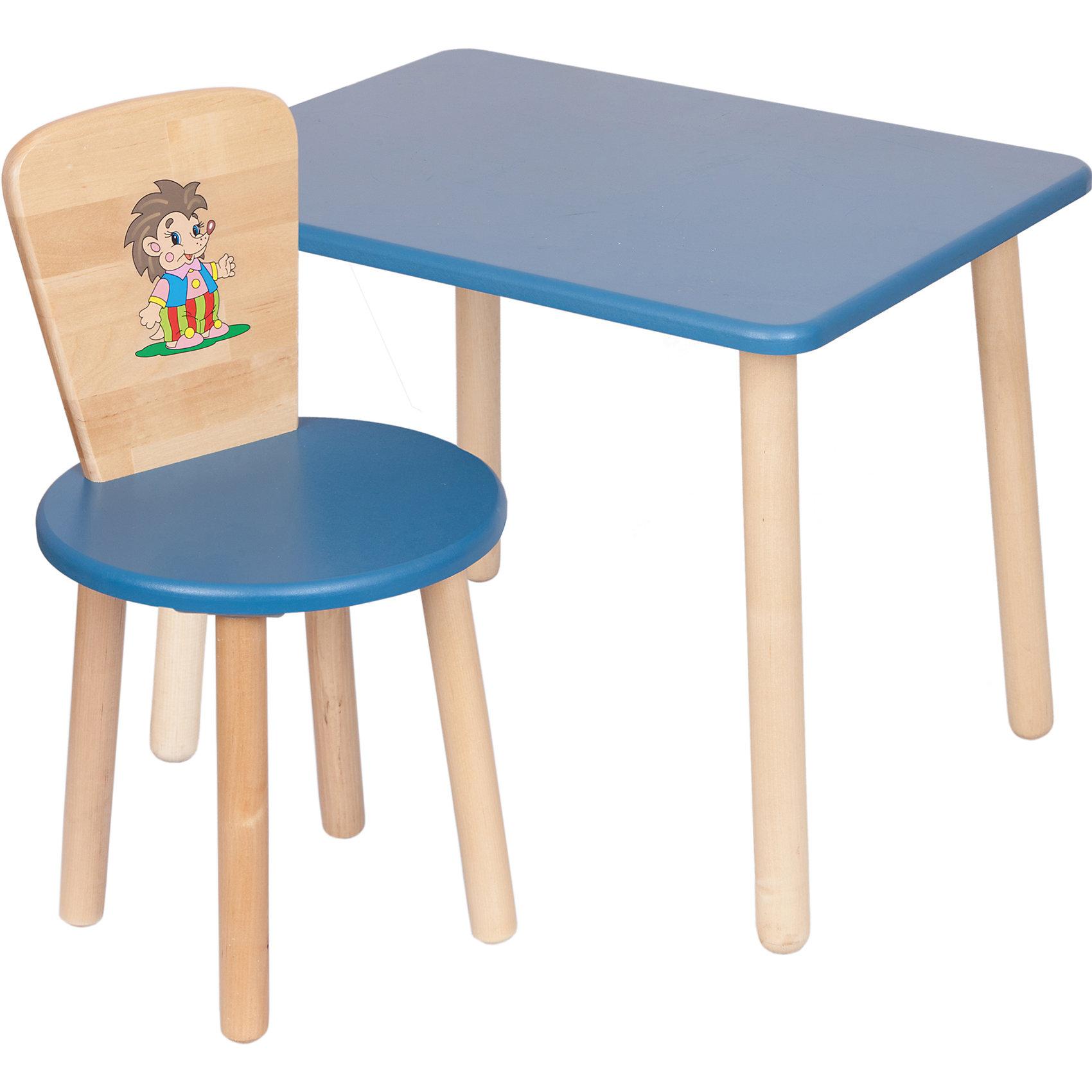 Набор: стол и стул, Русэкомебель, синийМебель<br>Набор мебели Эко от известного производителя Русэкомебель - практичный и красивый комплект, состоящий из стола и стула. Яркая мебель прекрасно впишется в интерьер детской и обязательно понравится вашему ребенку. Стул и стол не имеют острых углов, которые могут травмировать малышей. Гладкая поверхность столешницы и сиденья позволяет легко устранять любые загрязнения. Стол прямоугольной формы идеально подойдет для занятий, игр и творчества. Набор выполнен из высококачественных материалов, раскрашен безопасными, экологичными и нетоксичными красителями. <br><br>Дополнительная информация:<br><br>- Комплектация: стол, стул.<br>- Материал: дерево (береза), МДФ.<br>- Не имеет острых углов. <br>- Размер столешницы: 45x60 см. <br>- Высота стола: 52 см.<br>- Диаметр стула: 31 см. <br>- Высота стула: 57 см.<br>- Высота стула (от пола до сиденья): 32 см.<br><br>Набор мебели Эко № 1, синий, можно купить в нашем магазине.<br><br>Ширина мм: 730<br>Глубина мм: 530<br>Высота мм: 140<br>Вес г: 8400<br>Возраст от месяцев: 24<br>Возраст до месяцев: 84<br>Пол: Унисекс<br>Возраст: Детский<br>SKU: 4756478