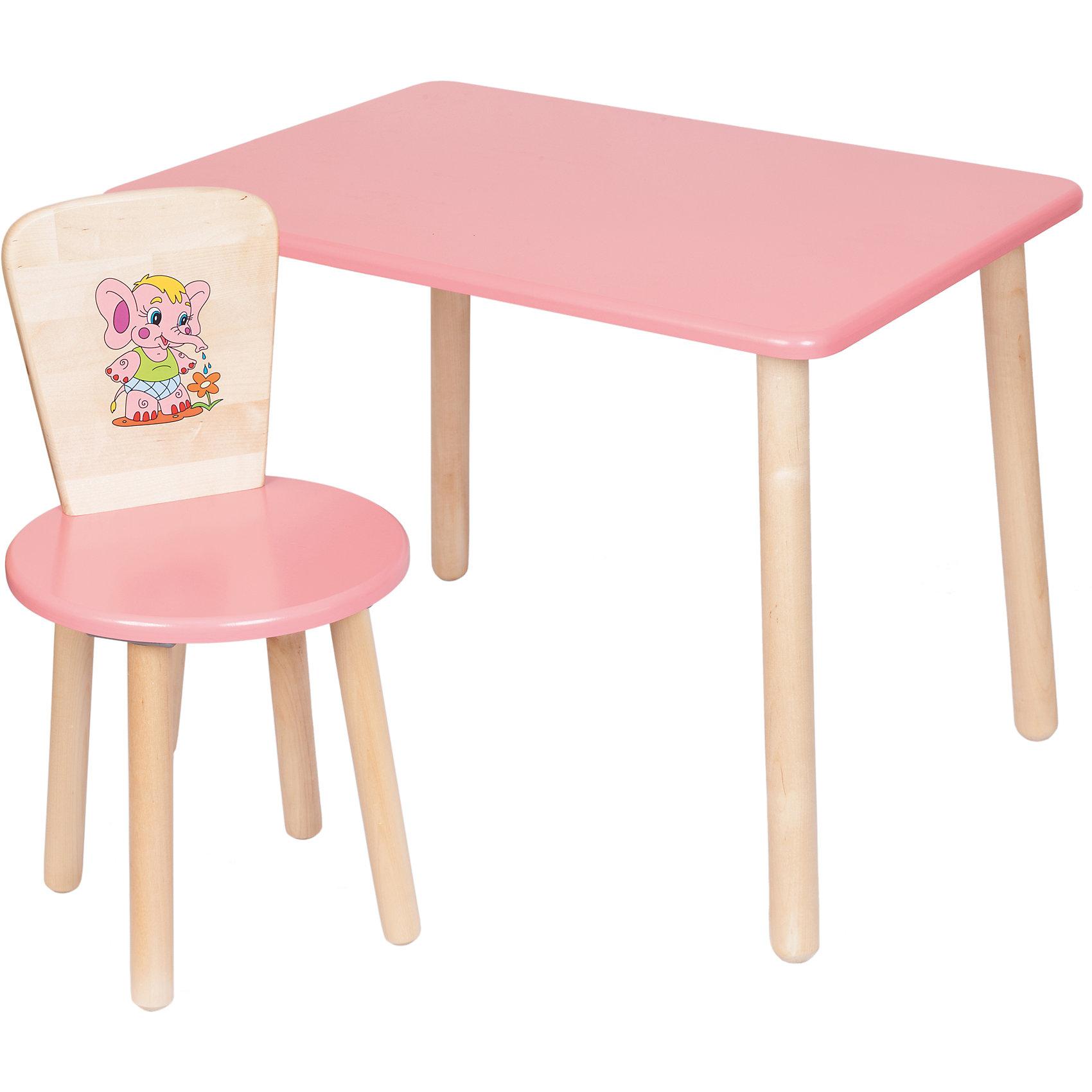 Набор мебели Эко № 1, розовыйМебель<br>Набор мебели Эко от известного производителя Русэкомебель - практичный и красивый комплект, состоящий из стола и стула. Яркая мебель прекрасно впишется в интерьер детской и обязательно понравится вашему ребенку. Стул и стол не имеют острых углов, которые могут травмировать малышей. Гладкая поверхность столешницы и сиденья позволяет легко устранять любые загрязнения. Стол прямоугольной формы идеально подойдет для занятий, игр и творчества. Набор выполнен из высококачественных материалов, раскрашен безопасными, экологичными и нетоксичными красителями.  <br><br>Дополнительная информация:<br><br>- Комплектация: стол, стул.<br>- Материал: дерево (береза), МДФ.<br>- Не имеет острых углов. <br>- Размер столешницы: 45x60 см. <br>- Высота стола: 52 см.<br>- Диаметр стула: 31 см. <br>- Высота стула: 57 см.<br>- Высота стула (от пола до сиденья): 32 см.<br><br>Набор мебели Эко № 1, розовый, можно купить в нашем магазине.<br><br>Ширина мм: 730<br>Глубина мм: 530<br>Высота мм: 140<br>Вес г: 8400<br>Возраст от месяцев: 24<br>Возраст до месяцев: 84<br>Пол: Унисекс<br>Возраст: Детский<br>SKU: 4756479
