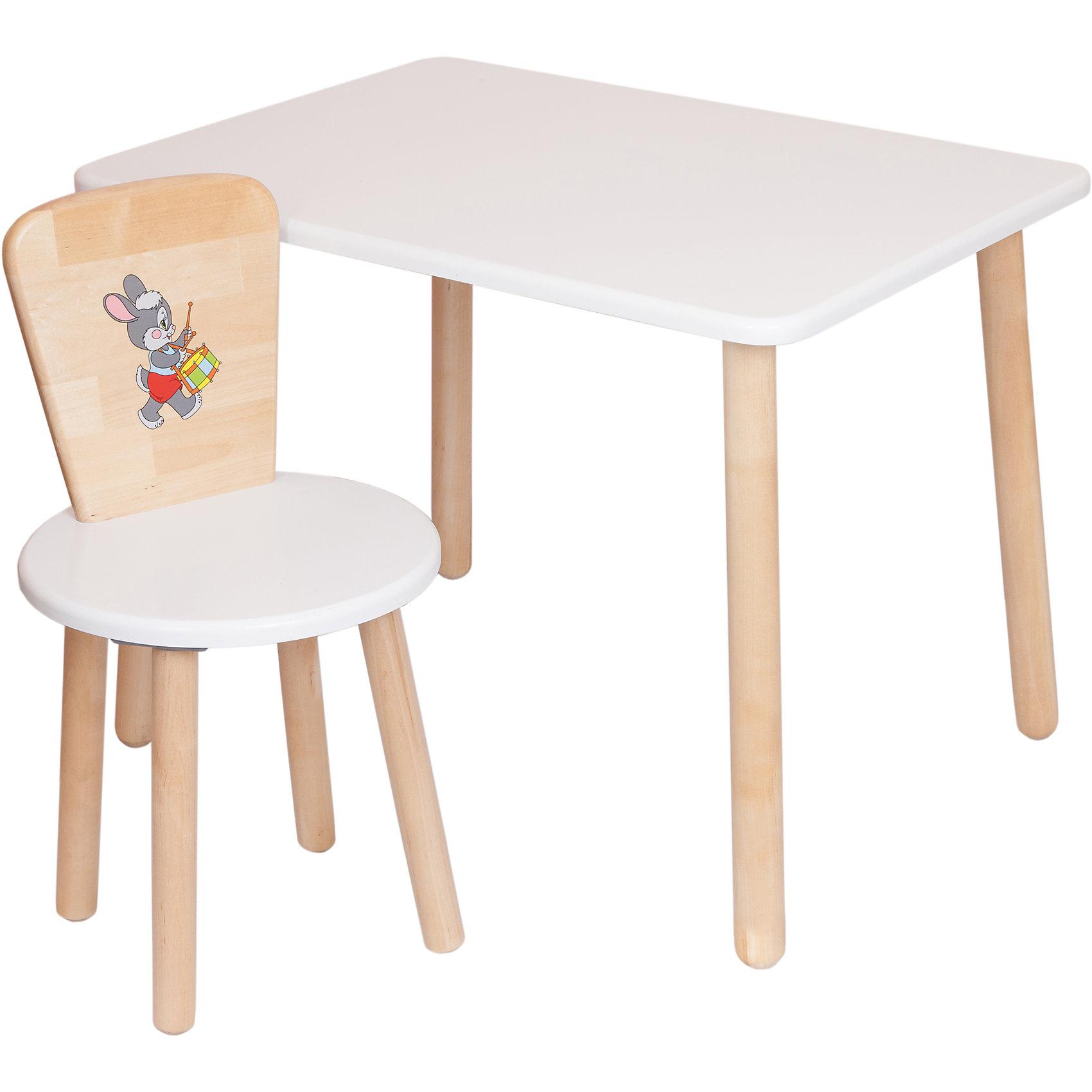 Набор мебели Эко № 1, белыйМебель<br>Набор мебели Эко от известного производителя Русэкомебель - практичный и красивый комплект, состоящий из стола и стула.  Мебель прекрасно впишется в интерьер детской и обязательно понравится вашему ребенку. Стул и стол не имеют острых углов, которые могут травмировать малышей. Гладкая поверхность столешницы и сиденья позволяет легко устранять любые загрязнения. Стол прямоугольной формы идеально подойдет для занятий, игр и творчества. Набор выполнен из высококачественных материалов, раскрашен безопасными, экологичными и нетоксичными красителями. <br><br>Дополнительная информация:<br><br>- Комплектация: стол, стул.<br>- Материал: дерево (береза), МДФ.<br>- Не имеет острых углов. <br>- Размер столешницы: 45x60 см. <br>- Высота стола: 52 см.<br>- Диаметр стула: 31 см. <br>- Высота стула: 57 см.<br>- Высота стула (от пола до сиденья): 32 см.<br><br>Набор мебели Эко № 1, белый, можно купить в нашем магазине.<br><br>Ширина мм: 730<br>Глубина мм: 530<br>Высота мм: 140<br>Вес г: 8400<br>Возраст от месяцев: 24<br>Возраст до месяцев: 84<br>Пол: Унисекс<br>Возраст: Детский<br>SKU: 4756480