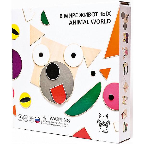 Деревянный конструктор В мире животных, ШушаДеревянные конструкторы<br>Характеристики:<br><br>• возраст: от 3 лет;<br>• материал: березовая фанера;<br>• в наборе: 28 элементов игры;<br>• вес: 1,1 кг.;<br>• размер упаковки: 33х33х6 см;<br>• страна бренда: Россия.<br><br>Игра «В мире животных» от «Шуша» познакомит ребенка с разными животными. С помощью разнообразных деталей в виде ушей, клюва, глаз, пастей малыш составит мордочки слона, собаки, кошки и многие другие. Деревянные детали экологичны и безопасны для здоровья. Набор расширяет кругозор и развивает фантазию.<br><br>Shusha «В мире животных» можно купить в нашем интернет-магазине.<br>Ширина мм: 330; Глубина мм: 330; Высота мм: 60; Вес г: 1100; Возраст от месяцев: 36; Возраст до месяцев: 1188; Пол: Унисекс; Возраст: Детский; SKU: 4756898;
