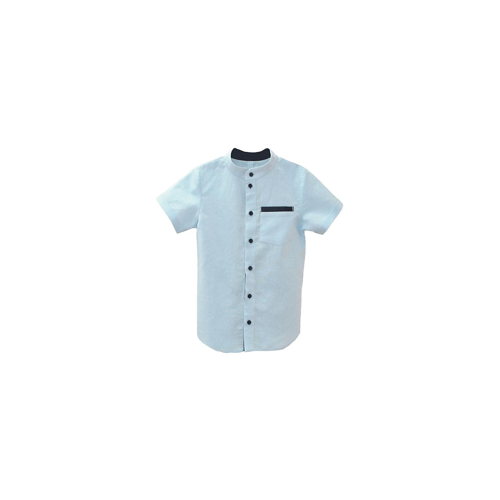 Goldy Рубашка  для мальчика Goldy goldy белый с голубыми манжетами