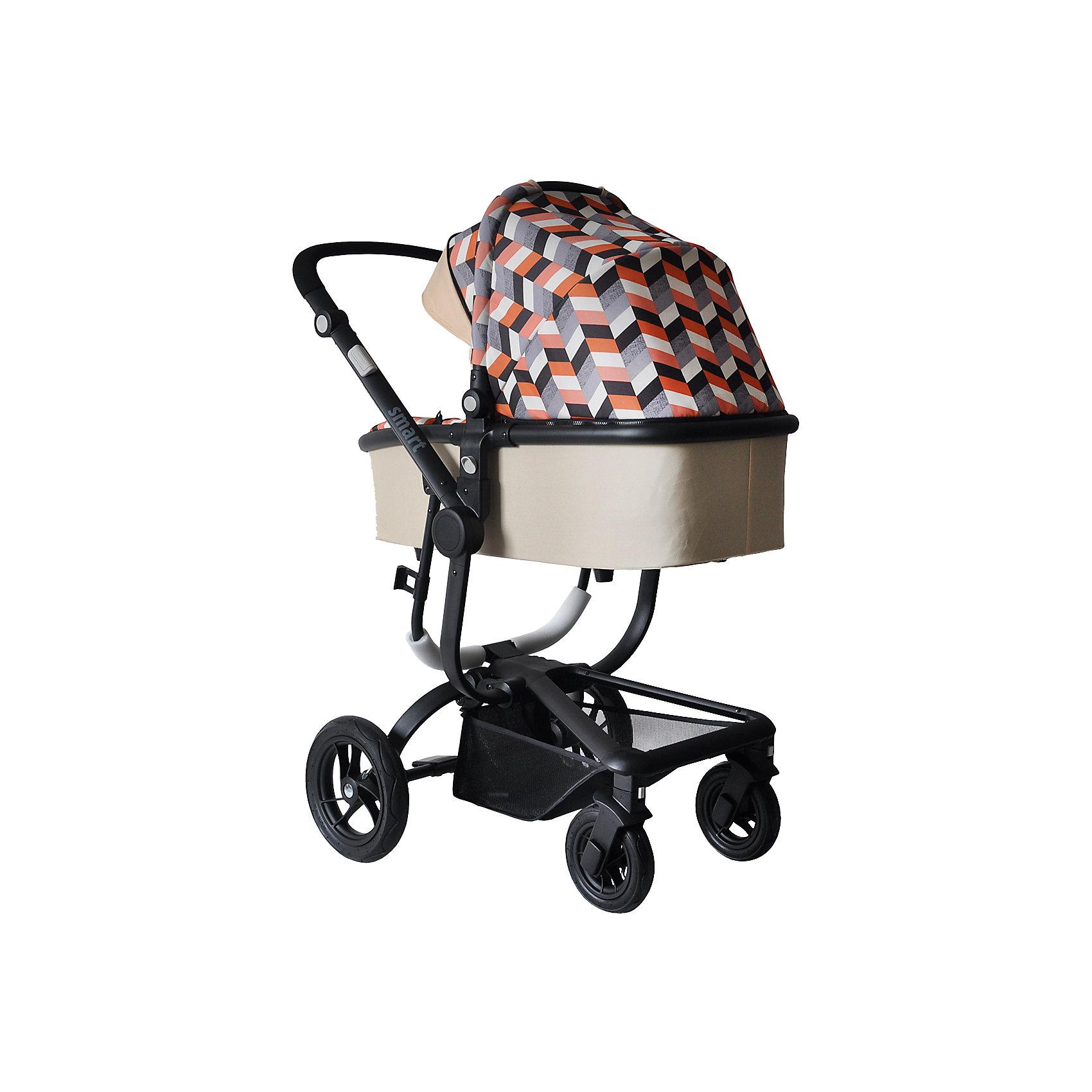 Коляска 2-в-1 SMART, Baby Hit, бежевыйДетская коляска с прогулочным блоком и люлькой сыграет важную роль в прогулках с малышом от рождения и пока крохе не исполнится три годика. Просторная люлька с жестким дном, каркасная, теплая, непродуваемая. Прогулочный блок с накидкой на ножки, съемным бампером и опускающейся почти до горизонтального положения спинкой. Маневренная коляска, рама с разной по размеру передней и задней колесной базой, надувные задние колеса и поворотные с блокировкой передние.<br><br>Характеристика:<br>- Для детей от рождения до трех лет.<br>- Переставляемый «лицом к родителю» и обратно прогулочный блок.<br>- Перекидная родительская ручка.<br>- Четыре положения регулировки наклона спинки.<br>- Регулируемая подножка.<br>- Поворотные одинарные передние колеса с фиксацией.<br>- Съемный ограничительный поручень с паховым ремнем.<br>- Пятиточечная система ремней безопасности.<br>- Прочная алюминиевая рама<br>- Багажная корзина с козырьком от грязи.<br>- Облегченные колеса (передние 18 см, задние  24 см).<br>- Ширина колесной базы менее 60 см (проходит в стандартные дверные проемы).<br>Люлька:<br>- Регулируемый наклон спинки: 3 положения;<br>- Спинка опускается до горизонтального положения;<br>- Регулируемая подножка, серые боковые кнопки регулировки;<br>- Съемный защитный бампер;<br>- Бампер обтянут мягкой тканью;<br>- Глубокий капюшон-батискаф с солнцезащитным козырьком и смотровым окошком;<br>- Утепленный чехол на ножки.<br>Рама:<br>- Тип складывания: книжка;<br>- Тип тормоза: ножной;<br>- Различная ширина колесной базы;<br>- Колеса разного диаметра;<br>- Задние колеса надувные, материал ПВХ;<br>- Передние колеса поворотные с блокировкой,          - Материал полиуретан;<br>- Ручка сплошная;<br>- Высота ручки регулируется, используются боковые кнопки серого цвета, которые находятся на раме коляски.<br><br>Дополнительная информация:<br>- Вес коляски с люлькой - 13,5 кг.<br>- Вес коляски без люльки - 8,5 кг.<br>- Ширина колесной базы - 59,5 см<br>- Разме