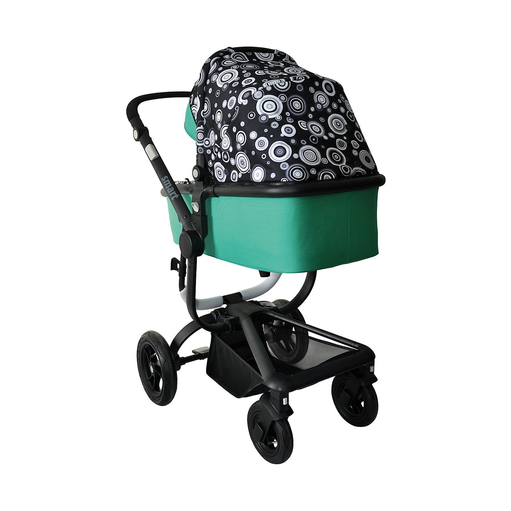 Коляска 2-в-1 SMART, Baby Hit, черный/зеленыйДетская коляска с прогулочным блоком и люлькой сыграет важную роль в прогулках с малышом от рождения и пока крохе не исполнится три годика. Просторная люлька с жестким дном, каркасная, теплая, непродуваемая. Прогулочный блок с накидкой на ножки, съемным бампером и опускающейся почти до горизонтального положения спинкой.<br><br>Характеристика:<br>- Для детей от рождения до трех лет.<br>- Переставляемый «лицом к родителю» и обратно прогулочный блок.<br>- Перекидная родительская ручка.<br>- Четыре положения регулировки наклона спинки.<br>- Регулируемая подножка.<br>- Поворотные одинарные передние колеса с фиксацией.<br>- Съемный ограничительный поручень с паховым ремнем.<br>- Пятиточечная система ремней безопасности.<br>- Прочная алюминиевая рама<br>- Багажная корзина с козырьком от грязи.<br>- Облегченные колеса (передние 18 см, задние  24 см).<br>- Ширина колесной базы менее 60 см (проходит в стандартные дверные проемы).<br>Люлька:<br>- Регулируемый наклон спинки: 3 положения;<br>- Спинка опускается до горизонтального положения;<br>- Регулируемая подножка, серые боковые кнопки регулировки;<br>- Съемный защитный бампер;<br>- Бампер обтянут мягкой тканью;<br>- Глубокий капюшон-батискаф с солнцезащитным козырьком и смотровым окошком;<br>- Утепленный чехол на ножки.<br>Рама:<br>- Тип складывания: книжка;<br>- Рама неустойчива в сложенном виде;<br>- Тип тормоза: ножной;<br>- Различная ширина колесной базы;<br>- Колеса разного диаметра;<br>- Задние колеса надувные, материал ПВХ;<br>- Передние колеса поворотные с блокировкой,          - Материал полиуретан;<br>- Ручка сплошная;<br>- Высота ручки регулируется, используются боковые кнопки серого цвета, которые находятся на раме коляски.<br><br>Дополнительная информация:<br><br>- Вес коляски с люлькой - 13,5 кг.<br>- Вес коляски без люльки - 8,5 кг.<br>- Ширина колесной базы - 59,5 см<br>- Размер коляски в разложенном состоянии:112х105 х48 см. (высота, длина, ширина)<br>- Размер кол