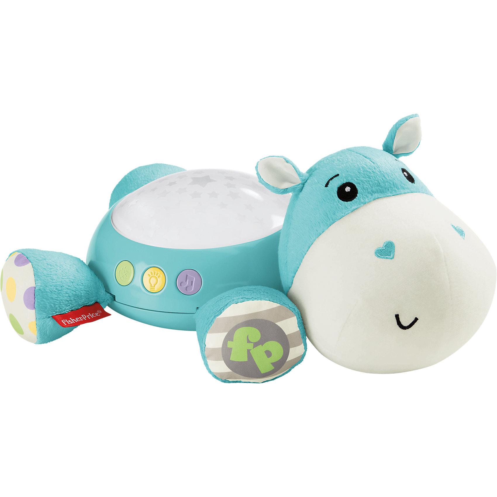 Плюшевая игрушка-проектор Бегемотик, Fisher PriceНочники и проекторы<br>Плюшевая игрушка-проектор Бегемотик, Fisher Price (Фишер Прайс)<br><br>Характеристики:<br><br>• успокоит малыша и подарит ему комфорт перед сном<br>• создаст звездное сияние в комнате малыша<br>• малыш послушает колыбельные, звуки природы и белый шум<br>• длительность музыкального сопровождения: 30 минут<br>• батарейки: АА - 3шт. (не входят в комплект)<br>• размер: 30х22х12 см<br>• размер упаковки: 29х171х7 см<br>• вес: 505 грамм<br><br>Милый плюшевый бегемотик поможет малышу успокоиться и подарит самые сладкие и комфортные сны. Комната наполнится звездным сиянием, сопровождающимся звуками и мелодиями. Кроха сможет слушать звуки природы, колыбельные или белый шум. А во время бодрствования очаровательный голубой бегемотик вызовет радостную улыбку на лице малыша. С этим бегемотик совсем не страшно засыпать!<br><br>Плюшевую игрушку-проектор Бегемотик, Fisher Price (Фишер Прайс) вы можете купить в нашем интернет-магазине.<br><br>Ширина мм: 301<br>Глубина мм: 185<br>Высота мм: 172<br>Вес г: 528<br>Возраст от месяцев: 0<br>Возраст до месяцев: 12<br>Пол: Унисекс<br>Возраст: Детский<br>SKU: 4758266