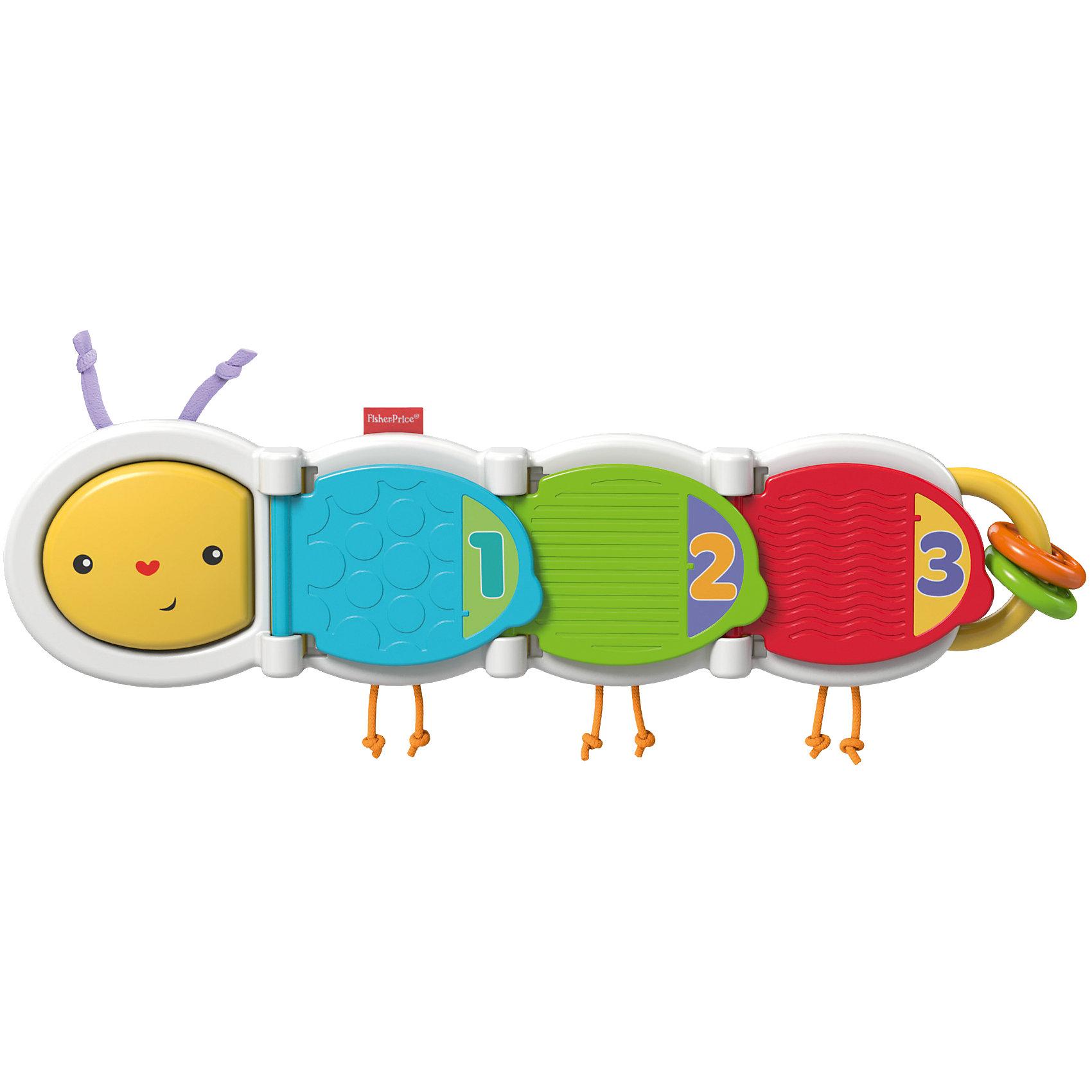 Гусеница с сюрпризом, Fisher-PriceРазвивающие игрушки<br>Гусеница с сюрпризом, Fisher-Price (Фишер Прайс)<br><br>• яркие цвета<br>• помогает d развитии мелкой моторики, зрительного восприятия b тактильных ощущений<br>• длина гусеницы: 34 см<br>• материал: пластик, полиэфир, ПЭТ<br>• размер упаковки: 37х21х5,5 см<br>• вес: 415 грамм<br><br>Красочная гусеница содержит несколько интересных сюрпризов, которые очень понравятся детям. Малыш найдёт рельефные детали, погремушку, колечки, шнурки и многое другое. Открывая части гусеницы, кроха познакомится с цветами, животными и цифрами. Гусеница имеет очень яркую расцветку, которая обязательно привлечет внимание крохи. Игра хорошо развивает тактильные ощущения, моторику рук, цветовое и слуховое восприятие.<br><br>Гусеницу с сюрпризом, Fisher-Price (Фишер Прайс) можно купить в нашем интернет-магазине.<br><br>Ширина мм: 362<br>Глубина мм: 205<br>Высота мм: 58<br>Вес г: 408<br>Возраст от месяцев: 6<br>Возраст до месяцев: 12<br>Пол: Унисекс<br>Возраст: Детский<br>SKU: 4758269