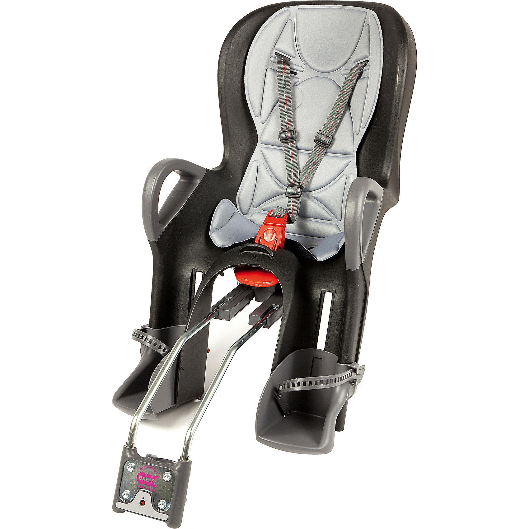 Велосипедное кресло 10+, черный/серый, Ok BabyВелосипедное кресло, Ok Baby, идеально подходит для перевозки детей весом до 22 кг. на велосипедах. Кресло надежно крепится в задней части велосипеда. Благодаря эргономичной форме и термической водоотталкивающей обивке кресла, поездка в нем будет комфортна в<br>любую погоду. Кресло имеет 8 регулировок продольного перемещения относительно седла велосипеда, что позволяет использовать его практически на любых моделях велосипедов. Наклон спинки можно регулировать в 7 положениях, выбрав наиболее удобное для ребенка. При этом<br>не будет нарушена управляемость и устойчивость велосипеда. Ребенок надежно удерживается в кресле 3-точечными ремнями безопасности, удобные подставки для ног регулируются по высоте. Специальная система ABS удерживает центр тяжести велокресла в правильном<br>положении. Сигнализатор закрепления указывает на правильность прикрепления сиденья к велосипеду. Для повышения безопасности в тёмное время суток на дороге, спинка велокресла оборудована светоотражателем с 4 светодиодами, имеющими 4 различные рабочие программы.<br><br><br>Дополнительная информация:<br><br>- Цвет: черный/серый.<br>- Максимальный вес ребенка: 22 кг.<br><br>Велосипедное кресло 10+, черный/серый, Ok Baby, можно купить в нашем интернет-магазине.<br><br>Ширина мм: 500<br>Глубина мм: 450<br>Высота мм: 900<br>Вес г: 5000<br>Возраст от месяцев: 10<br>Возраст до месяцев: 36<br>Пол: Унисекс<br>Возраст: Детский<br>SKU: 4761344