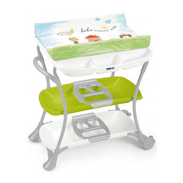 Пеленальный столик Nuvola, CAM, Bebe amore mio с салатовой полкойПеленальные столы<br>Пеленальный стол Nuvola, CAM, идеально подходит для удобного и комфортного ухода за малышом. Основу конструкции составляет металлический каркас с закругленными углами. По бокам расположены удобные ручки, на них также можно повесить полотенце. Съемная<br>анатомическая ванночка может использоваться в 2-х позициях: для малышей от 0 до 6 месяцев и от 6 до 12 месяцев. Предусмотрены отделения для губки и мыла и отверстие для подвода воды через трубку. Герметичный клапан надежно перекрывает отток воды во время купания.<br>Под дном ванночки крепятся два удобных пластиковых контейнера с полками-держателем для бутылочек и необходимых принадлежностей во время купания. Мягкий съемный пеленальный матрасик с высокими бортиками надежно и бережно поддерживает спинку малыша, оснащен<br>системой безопасного крепления и предотвращения падения. Материал матрасика водонепроницаемый и легко моется. Столик оборудован двумя колесиками на ножках, оснащенных стояночным тормозом. Пеленальный столик легко и компактно складывается и не занимает много<br>места при хранении.<br><br><br>Дополнительная информация:<br><br>- Цвет: салатовый.<br>- Материал: металл, пластик.<br>- Размер в разложенном виде: 97 х 61 х 104 см.<br>- Размер пеленального матрасика: 74 х 46 см. <br>- Размер упаковки: 57 х 27 х 84 см.<br>- Вес с упаковкой: 12,5 кг.<br><br>Пеленальный стол Nuvola, CAM, Bebe amore mio с салатовой полкой, можно купить в нашем интернет-магазине.<br>Ширина мм: 570; Глубина мм: 265; Высота мм: 840; Вес г: 13500; Возраст от месяцев: 0; Возраст до месяцев: 12; Пол: Унисекс; Возраст: Детский; SKU: 4761356;