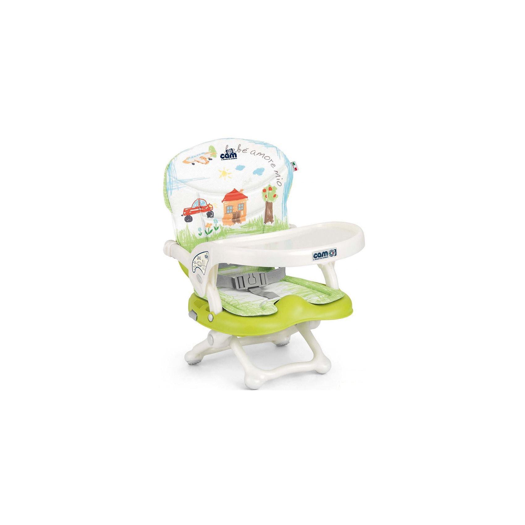 Стульчик для кормления Smarty Pop, CAM, салатовый Bebe amore mioSmarty Pop - переносной стульчик для кормления, идеально подходящий для активных и мобильных родителей! Модель оснащена уникальным механизмом фиксации, благодаря чему прочно и надежно крепится на любом стуле. Smarty Pop регулируется по высоте в 4 позициях в зависимости от роста ребенка, имеет пластиковый столик для малышей, которые еще только учатся есть. Удобное мягкое сиденье эргономичной формы оснащено ремнями безопасности. Стульчик имеет противоскользящие упоры, гарантирующие безопасность даже самым активным детям. Модель легко и компактно складывается, в сложенном виде занимает мало места. Ее удобно брать с собой на прогулки, путешествия, в гости. <br><br>Дополнительная информация:<br><br>- Материал: пластик, текстиль.<br>- Размер в разложенном виде: 37x42x50 см.<br>- Размер в сложенном виде: 37x42x13 см.<br>- Вес: 1,8 кг.<br>- Регулировка по высоте в 4 позициях (от 0 до 18 см).<br>- Противоскользящие упоры.<br>- Удобное сиденье с подлокотниками.<br>- Отсутствуют острые углы и края.<br>- Легко моется.<br>- Быстро и компактно складывается. <br> <br>Стульчик для кормления Smarty Pop, CAM, салатовый Bebe amore mio, можно купить в нашем магазине.<br><br>Ширина мм: 600<br>Глубина мм: 435<br>Высота мм: 377<br>Вес г: 2000<br>Возраст от месяцев: 6<br>Возраст до месяцев: 36<br>Пол: Унисекс<br>Возраст: Детский<br>SKU: 4761372