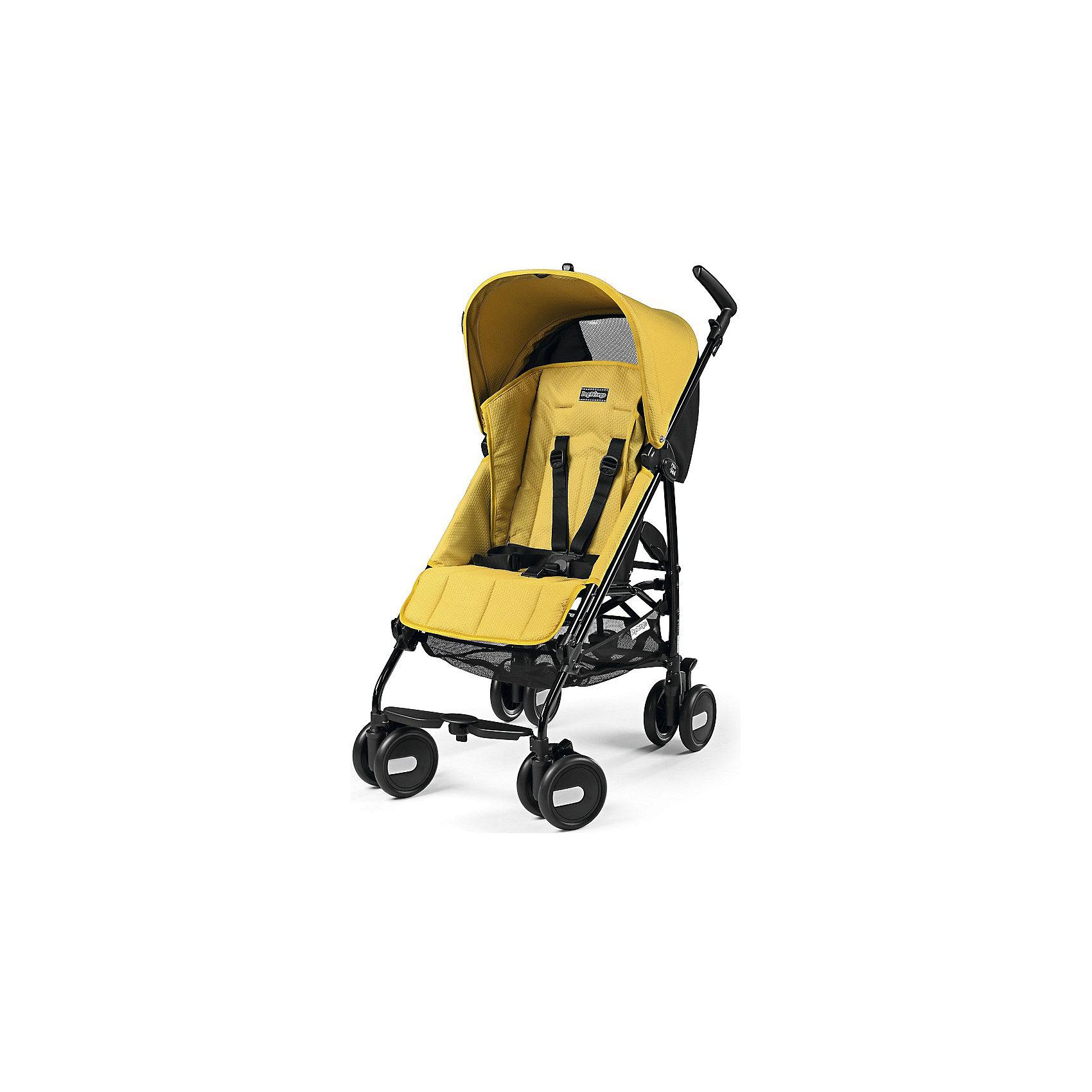 Kоляска-трость Pliko Mini с бампером, Peg-Perego, Mod YellowКоляска-трость Pliko Mini, Peg-Perego - компактная прогулочная коляска с небольшими габаритами, которая отвечает всем требованиям комфорта и безопасности малыша. Очень практична для использования в любой ситуации. Коляска оснащена удобным для ребенка сиденьем с мягкими 5- точечными ремнями безопасности. Дополнительно можно приобрести мягкий съемный бампер (отдельно бампер без коляски не продается!). Спинка легко раскладывается в 3 положениях вплоть до горизонтального. Опора для ножек регулируется, что обеспечивает<br>малышу правильную осанку. Большой капюшон со смотровым окном защитит от солнца и дождя.  <br><br>Для родителей предусмотрены удобные ручки и вместительная корзина для принадлежностей малыша. Коляска оснащена 4 двойными колесами (передние - поворотные с возможностью фиксации, задние - с тормозом). Благодаря узкой колесной базе коляска без труда преодолевает<br>даже самые узкие проемы дверей, лифтов и турникетов. Легко и компактно складывается тростью, что позволяет использовать ее во время поездок и путешествий. Обивку можно снимать и стирать. Подходит для детей от 6 мес. до 3 лет.<br><br><br>Особенности:<br><br>- удобна для транспортировки и хранения;<br>- объемный капюшон от солнца и дождя;<br>- спинка сиденья регулируется 3 положениях;<br>- регулируемая подножка; <br>- корзина для вещей ребенка;<br>- передние поворотные колеса с возможностью фиксации;<br>- узкая колесная база;<br>- легко и компактно складывается тростью.<br><br><br>Дополнительная информация:<br><br>- Цвет: Mod Yellow.<br>- Материал: текстиль, металл, пластик.<br>- Диаметр колес: 14,6 см.<br>- Максимальная длина спального места: 87 см.<br>- Размер в разложенном виде: 84 х 50 х 101 см.<br>- Размер в сложенном виде: 34 х 32 х 94 см.<br>- Вес: 5,7 кг.<br><br>Коляску-трость Pliko Mini + бампер передний, Peg-Perego можно купить в нашем интернет-магазине.<br><br>Ширина мм: 1005<br>Глубина мм: 280<br>Высота мм: 270<br>Вес г: 7600<br>
