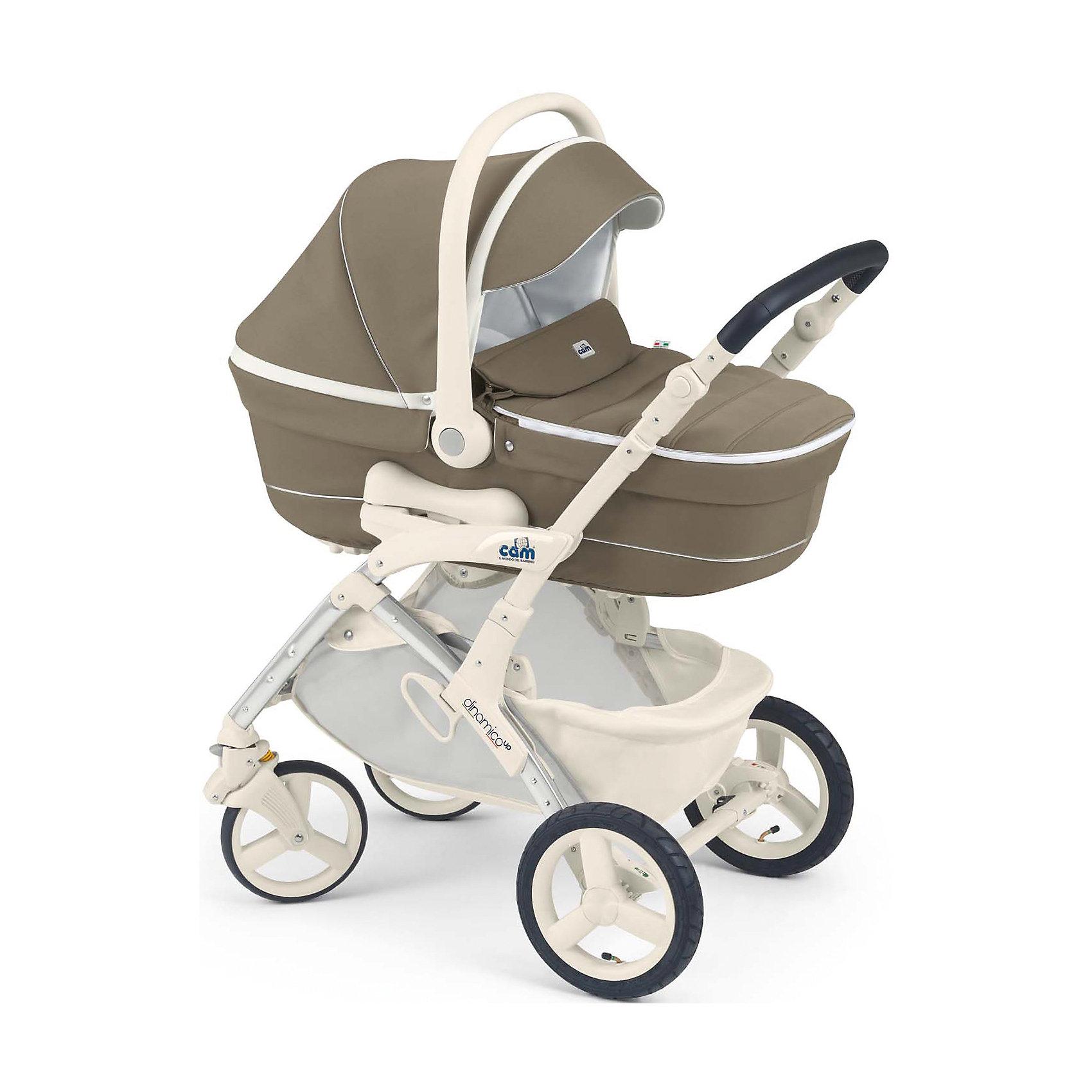 Коляска 3 в 1 Dinamico Up, CAM, темный крем/белыйКоляска 3 в 1 Dinamico Up, CAM - современная модульная коляска, которая обеспечит максимальный комфорт и безопасность Вашему малышу. Коляска состоит из прилагающихся к шасси прогулочного блока, люльки для новорожденного и автокресла-переноски и подходит для<br>детей от рождения до 3 лет. Люлька из пластика предназначена для детей от рождения до 6 месяцев. Легко устанавливается на шасси по ходу и против хода движения. Наклон подголовника регулируется в 4 положениях при помощи специального рычага (максимально поднимается<br>до 45°). Внутри люльки - приятная на ощупь внутренняя отделка и мягкий съемный матрасик.<br><br>Прогулочный блок подходит для детей от 6 месяцев до 3-х лет. Может устанавливаться в положениях лицом к маме или лицом к дороге. Блок оснащен комфортным утепленным сиденьем с регулируемой в 4 положениях спинкой (наклон до 160°). Безопасность малыша гарантируют пятиточечные ремни безопасности с мягкими плечевыми накладками и съемный бампер. Солнцезащитный козырек защитит малыша от непогоды и солнца. Регулируемая подножка создает дополнительный комфорт. Детское автокресло предназначено для детей весом от  0 до 13 кг.<br>Комфортное сиденье с анатомической подушкой оснащено широкими 5-точечными ремнями с надёжным замком безопасности, имеется система защиты от боковых ударов. Для переноски имеется удобная эргономичная ручка. Кресло крепится в машине штатными ремнями безопасности против хода движения на заднем сиденье.<br><br><br>Дополнительная информация:<br><br>- В комплекте: шасси, люлька для новорожденного, автокресло-переноска группы 0+, прогулочный блок, накидка на ножки, сумка для мамы, дождевик.<br>- Цвет: темный крем/белый.<br>- Размер коляски в разложенном состоянии (шасси): 95,5 х 58 х 118 см.<br>- Размер коляски в сложенном состоянии (шасси): 33 х 58 х 79 см.<br>- Размер люльки: 83 х 34 х 21 см.<br>- Вес люльки: 4,8 кг. <br>- Размер прогулочной коляски: 58 х 95,5 х 106 см.<br>- Вес прогулочной коляск