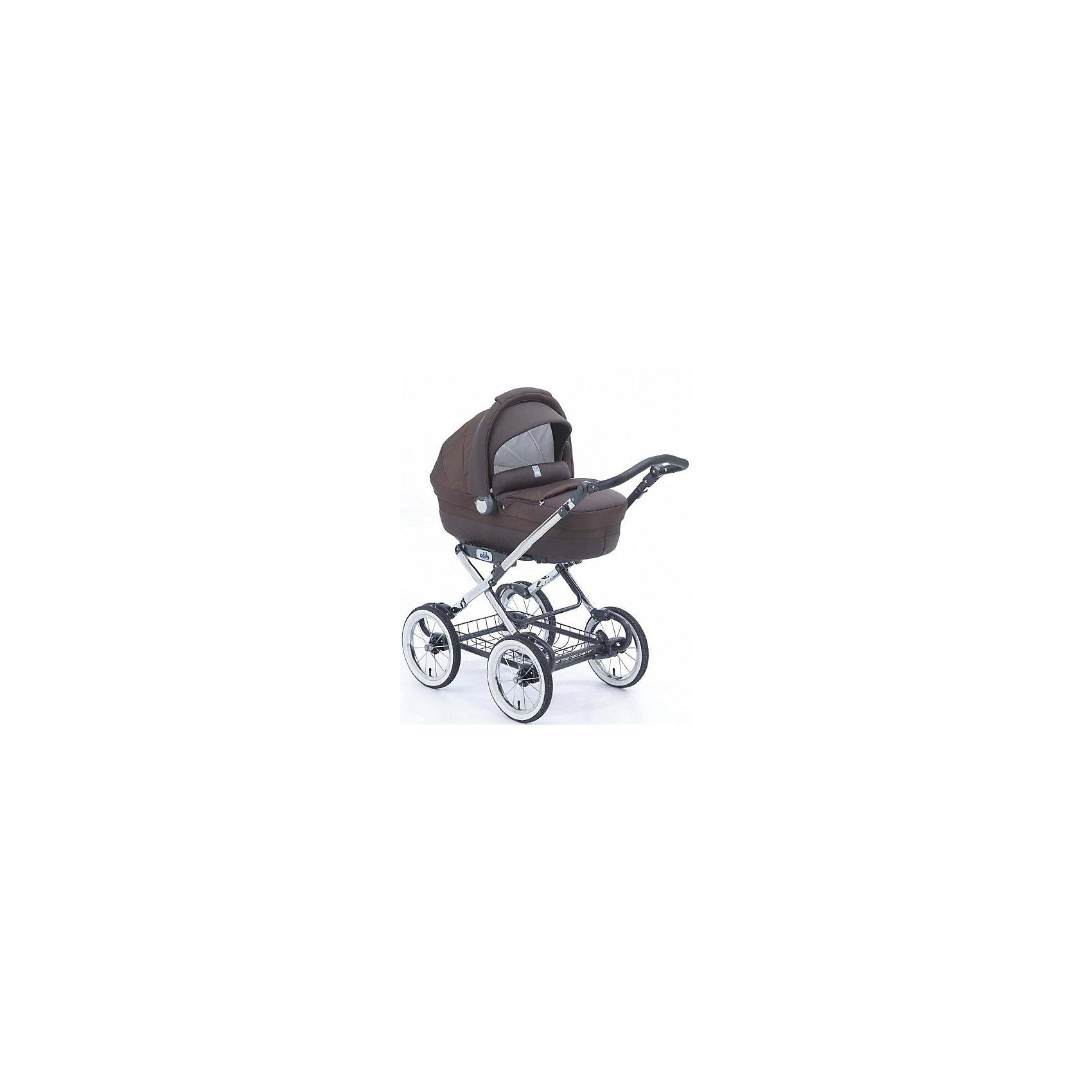 Коляска-люлька Linea Elegant, CAM, шоколадКоляска-люлька Linea Elegant, CAM - современная функциональная коляска, соединяющая в классический дизайн, комфорт и надежность. Она идеально подходит для прогулок с новорождённым малышом в любое время года. Конструкция состоит из шасси и съемной люльки,<br>которая легко устанавливается/снимается на колесную базу одним движением. В удобной люльке младенцу будет просторно и комфортно. Корпус выполнен из прочного высококачественного пластика. Наклон спинки регулируется в 4 положениях (максимально поднимается до 45°).<br>Внешняя поверхность люльки обита тканью из неопрена (эко-кожа). Внутри люльки - отделка из мягкого гипоаллергенного материала и мягкий съемный матрасик. Большой капюшон с встроенной москитной сеткой служит хорошей защитой от солнца и непогоды. На дне люльки<br>имеются специальные отверстия для проветривания. Благодаря специальным полозьям на дне люльку можно использовать отдельно как качалку для ребенка. <br><br>Для родителей предусмотрена удобная, регулируемая по высоте ручка с нескользящим покрытием и просторная металлическая корзина для детских принадлежностей или покупок. Коляска компактно и легко складывается книжкой. Подходит для детей от 0 до 8 месяцев.<br><br><br>Особенности:<br><br>- быстрая установка люльки на шасси;<br>- регулируемый наклон спинки;<br>- пластиковый каркас люльки имеет вентиляционные отверстия;<br>- полозья для качания люльки;<br>- регулируемая по высоте ручка;<br>- большие надувные колёса с хромированными спицами;<br>- ножной стояночный тормоз;<br>- большая корзина для вещей.<br><br><br>Дополнительная информация:<br><br>- Цвет: шоколад.<br>- В комплекте: шасси, люлька с зимней накидкой, сумка с пеленальным матрасиком.<br>- Материал: ткань, металл, пластик.<br>- Для детей от 0 до 8 месяцев.<br>- Диаметр колес: 33 см.<br>- Ширина колесной базы: 61 см.<br>- Внешние размеры люльки: 47 х 88,5 х 31,5 см.<br>- Общие размеры коляски: 107 х 61 х 122 см.<br>- Размер шасси в сложенном виде: 60 