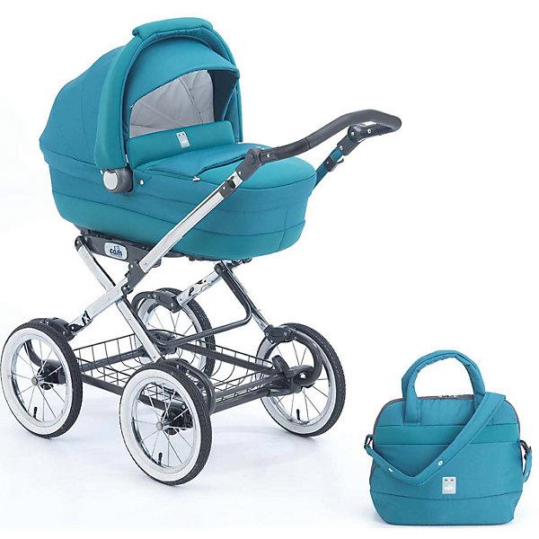 Коляска-люлька CAM Linea Elegant, бирюзовыйКоляски для новорожденных<br>Коляска-люлька Linea Elegant, CAM - современная функциональная коляска, соединяющая в классический дизайн, комфорт и надежность. Она идеально подходит для прогулок с новорождённым малышом в любое время года. Конструкция состоит из шасси и съемной люльки,<br>которая легко устанавливается/снимается на колесную базу одним движением. В удобной люльке младенцу будет просторно и комфортно. Корпус выполнен из прочного высококачественного пластика. Наклон спинки регулируется в 4 положениях (максимально поднимается до 45°).<br>Внешняя поверхность люльки обита тканью из неопрена (эко-кожа). Внутри люльки - отделка из мягкого гипоаллергенного материала и мягкий съемный матрасик. Большой капюшон с встроенной москитной сеткой служит хорошей защитой от солнца и непогоды. <br><br>Для родителей предусмотрена удобная, регулируемая по высоте ручка с нескользящим покрытием и просторная металлическая корзина для детских принадлежностей или покупок. Большие надувные колеса и пружинная подвеска обеспечивают отличную проходимость даже по неровной дороге в любых погодных условиях. Рама из легкого и прочного алюминия гарантирует долгий срок службы. Тканевые элементы можно снимать и стирать в деликатном режиме (стирка не выше 30?). Коляска компактно и легко складывается книжкой. Подходит для детей от 0<br>до 8 месяцев.<br><br>Особенности:<br><br>- быстрая установка люльки на шасси;<br>- регулируемый наклон спинки;<br>- пластиковый каркас люльки имеет вентиляционные отверстия;<br>- полозья для качания люльки;<br>- регулируемая по высоте ручка;<br>- большие надувные колёса с хромированными спицами;<br>- ножной стояночный тормоз;<br>- большая корзина для вещей.<br><br>Дополнительная информация:<br><br>- Цвет: бирюзовый.<br>- В комплекте: шасси, люлька с зимней накидкой, сумка с пеленальным матрасиком.<br>- Материал: ткань, металл, пластик.<br>- Для детей от 0 до 8 месяцев.<br>- Диаметр колес: 33 см.<br>- Ширина колесной баз