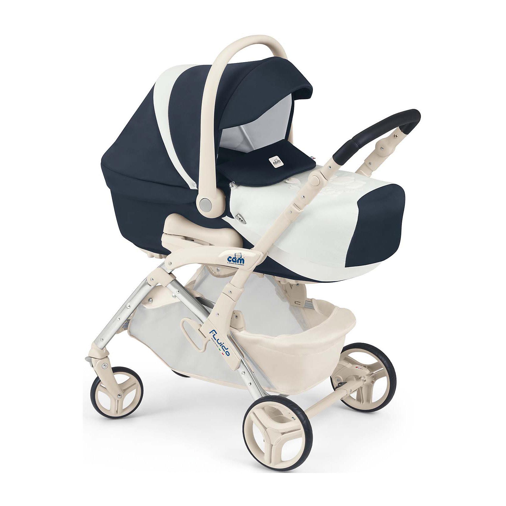 Коляска 3 в 1 Fluido Orsibelli, CAM, синий/белыйКоляска 3 в 1 Fluido Orsibelli, CAM - современная модульная коляска, которая обеспечит максимальный комфорт и безопасность Вашему малышу. Коляска состоит из прилагающихся к шасси прогулочного блока, люльки для новорожденного и автокресла-переноски и подходит для детей от рождения до 3 лет. Люлька из пластика предназначена для детей от рождения до 6 месяцев. Легко устанавливается/снимается на колесную базу с помощью системы Quicky system. Спинка регулируется в 3 положениях. Внутри люльки - приятная на ощупь внутренняя отделка из хлопка и мягкий съемный матрасик. В комплект также входит элегантная накидка, которую можно использовать как одеяло. На дне имеются специальные отверстия для проветривания. Удобная ручка-переноска с нескользящим покрытием. Благодаря специальным полозьям на дне люльку можно использовать отдельно как качалку для ребенка.<br><br>Прогулочный блок подходит для детей от 6 месяцев до 3-х лет. Может устанавливаться в положениях лицом к маме или лицом к дороге. Блок оснащен комфортным широким сиденьем с регулируемой в 4 положениях спинкой. Безопасность малыша гарантируют пятиточечные ремни безопасности с мягкими плечевыми накладками и съемный бампер. Большой объемный капюшон защитит малыша от непогоды и солнца. Регулируемая подножка создает дополнительный комфорт. Детское автокресло предназначено для детей весом от  0 до 13 кг. Кресло крепится в машине штатными ремнями безопасности против хода движения на заднем сиденье.<br><br>Дополнительная информация:<br><br>- В комплекте: шасси, люлька для новорожденного, автокресло-переноска группы 0+, прогулочный блок, сумка для мамы, накидка на ножки, дождевик, матрасик для пеленания.<br>- Цвет: синий/белый.<br>- Диаметр колес: передние - 17 см., задние - 15 см.<br>- Ширина колесной базы: 56 см.<br>- Размер люльки: 79 х 35 х 22 см.<br>- Внешние размеры коляски с люлькой: 57 х 90 х 117 см.<br>- Вес люльки: 4,9 кг. <br>- Размер прогулочной коляски: 57 х 86,5 х 100 с