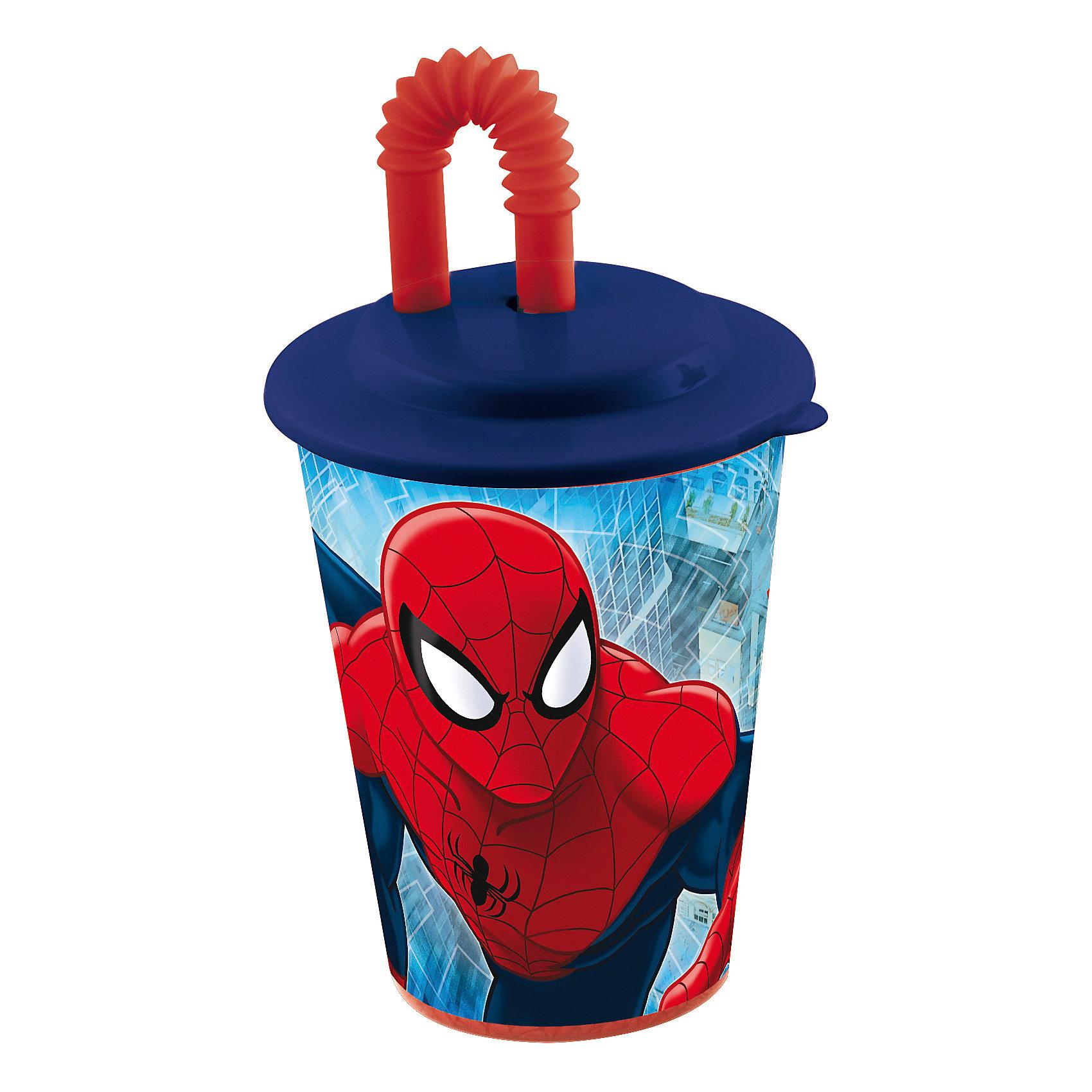 Стакан с крышкой и трубочкой, 450 мл, Человек-ПаукСтакан с изображением любимого героя обязательно понравится мальчишкам. Пить из него приятнее вдвойне! Стакан имеет удобную крышку, исключающую проливание и гибкую трубочку, выполнен из высококачественного экологичного пищевого пластика. Пластиковая посуда - практичная и безопасная, ее можно брать с собой куда угодно, не беспокоясь, что она может разбиться и поранить ребенка.   <br><br>Дополнительная информация:<br><br>- Материал: пластик.<br>- Объем: 450 мл.<br><br>Стакан с крышкой и трубочкой, 450 мл, Человек-Паук (Spider-Man), можно купить в нашем магазине.<br><br>Ширина мм: 95<br>Глубина мм: 95<br>Высота мм: 180<br>Вес г: 75<br>Возраст от месяцев: 36<br>Возраст до месяцев: 144<br>Пол: Мужской<br>Возраст: Детский<br>SKU: 4761392