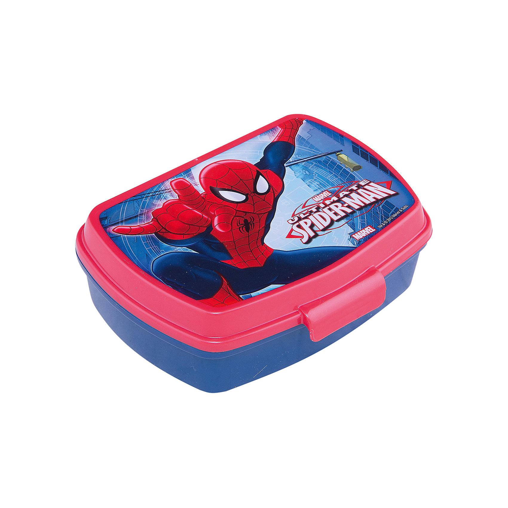 Бутербродница, Человек-паукДетская посуда<br>Бутербродница Человек-паук изготовлена из прочного гипоаллергенного пластика абсолютно безопасного для детей. Пластиковая посуда удобна и практична, ее можно брать с собой куда угодно, не беспокоясь о том, что она может разбиться. Яркий дизайн и изображения любимых героев обязательно порадуют вашего ребенка. Бутербродница - идеальный вариант для хранения детских завтраков, она оснащена удобным замком, с которым сможет справиться даже маленький ребенок, а благодаря твердой конструкции пища не помнется и не раскрошится в рюкзаке или сумке. <br><br>Дополнительная информация:<br><br>- Материал: пластик.<br>- Размер: 17,5х14х6 см.<br>- Удобный замок.<br><br>Бутербродницу Человек-паук (Spider-Man) можно купить в нашем магазине.<br><br>Ширина мм: 190<br>Глубина мм: 141<br>Высота мм: 60<br>Вес г: 81<br>Возраст от месяцев: 36<br>Возраст до месяцев: 84<br>Пол: Мужской<br>Возраст: Детский<br>SKU: 4761400
