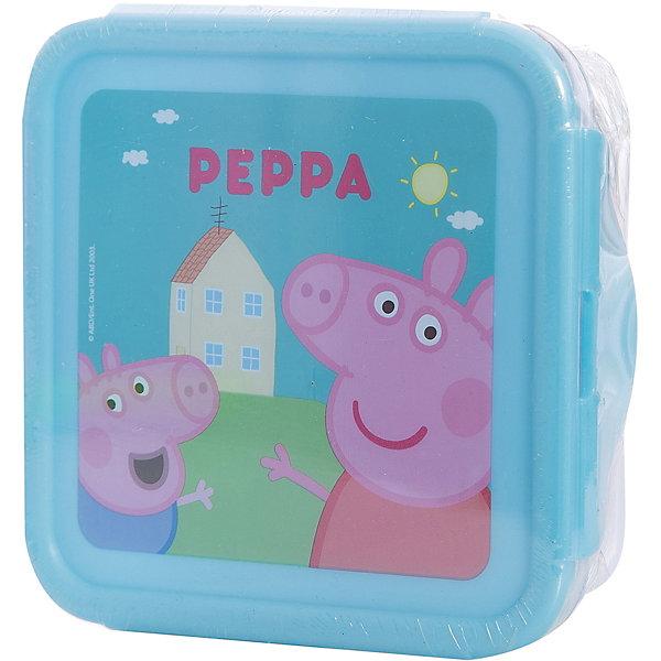 Универсальный контейнер, Свинка ПеппаДетская посуда<br>Контейнер с изображением веселой свинки Пеппы прекрасно подойдет для хранения любых мелочей или же его можно использовать как бутербродницу. Контейнер выполнен из высококачественного пищевого пластика, имеет удобную крышку с замками, которые легко и удобно открываются. <br><br>Дополнительная информация:<br><br>- Материал: пластик.<br>- Размер: 13х13х5 см.<br>- Удобные замки. <br><br>Универсальный контейнер, Свинка Пеппа (Peppa Pig), можно купить в нашем магазине.<br><br>Ширина мм: 130<br>Глубина мм: 130<br>Высота мм: 50<br>Вес г: 96<br>Возраст от месяцев: 36<br>Возраст до месяцев: 144<br>Пол: Унисекс<br>Возраст: Детский<br>SKU: 4761408