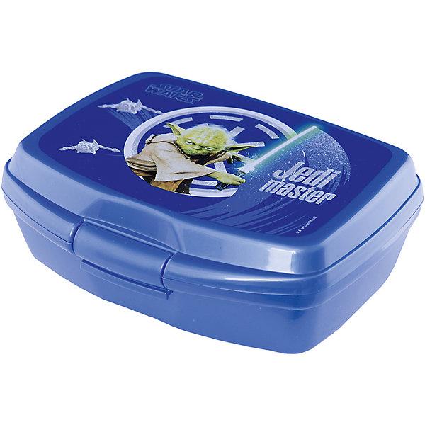 Бутербродница Звёздные Войны, синяяДетская посуда<br>Бутербродница Звёздные Войны изготовлена из прочного гипоаллергенного пластика абсолютно безопасного для детей. Пластиковая посуда удобна и практична, ее можно брать с собой куда угодно, не беспокоясь о том, что она может разбиться. Яркий дизайн и изображения любимых героев обязательно порадуют вашего ребенка. Бутербродница - идеальный вариант для хранения детских завтраков, она оснащена удобным замком, с которым сможет справиться даже маленький ребенок, а благодаря твердой конструкции пища не помнется и не раскрошится в рюкзаке или сумке. <br><br>Дополнительная информация:<br><br>- Материал: пластик.<br>- Размер: 16х10х6 см.<br>- Удобный замок (с зажимом).<br><br>Бутербродницу, Звёздные Войны (Star Wars), синюю, можно купить в нашем магазине.<br><br>Ширина мм: 165<br>Глубина мм: 130<br>Высота мм: 60<br>Вес г: 80<br>Возраст от месяцев: 36<br>Возраст до месяцев: 144<br>Пол: Унисекс<br>Возраст: Детский<br>SKU: 4761418