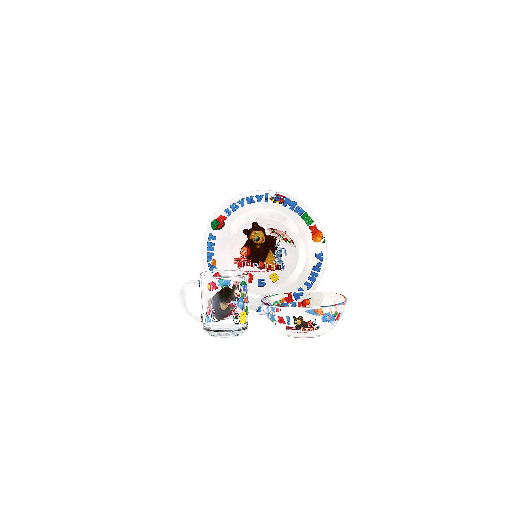Набор Маша и Медведь - Азбука, 3 предметаМаша и Медведь<br>Яркий набор с изображением озорной Маши и ее друзей обязательно понравится ребенку. Теперь любой прием пищи превратится в увлекательное приключение! Посуда выполнена из высококачественных экологичных материалов, раскрашена гипоаллергенными, безопасными для детей красителями. Набор в яркой, красивой упаковке станет желанным подарком на любой праздник. <br><br>Дополнительная информация:<br><br>- Материал: стекло.<br>- Комплектация: салатник, кружка, тарелка. <br>- Размер упаковки: 20х11х20 см. <br>- Диаметр салатника: 13 см.<br>- Диаметр тарелки: 19,5 см. <br>- Объем кружки: 250 мл. <br><br>Набор Маша и Медведь - Азбука, 3 предмета, можно купить в нашем магазине.<br><br>Ширина мм: 205<br>Глубина мм: 110<br>Высота мм: 205<br>Вес г: 860<br>Возраст от месяцев: 36<br>Возраст до месяцев: 144<br>Пол: Унисекс<br>Возраст: Детский<br>SKU: 4761420