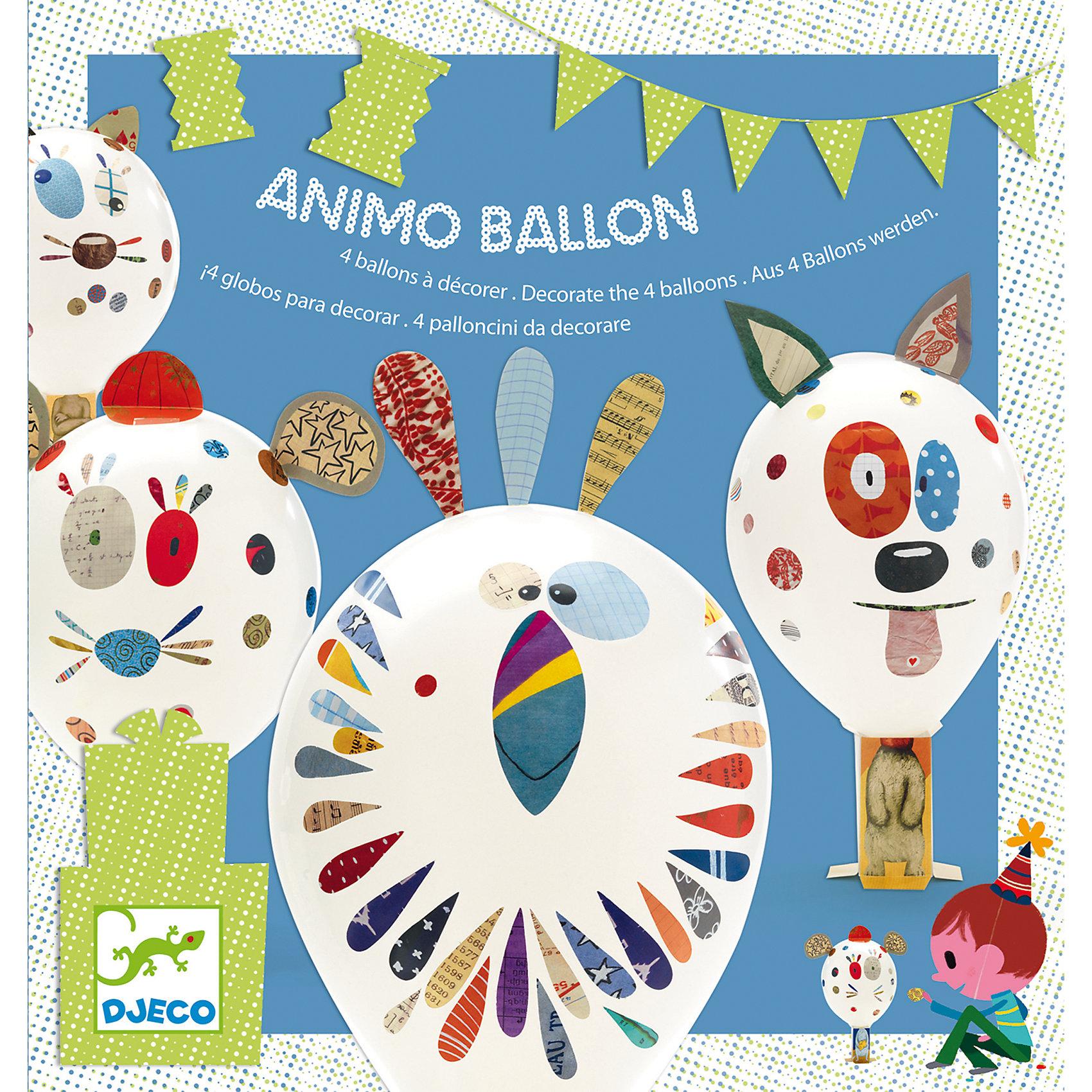 Набор для творчества Надувные шарики, DJECOВоздушные шары, гирлянды и хлопушки<br>С помощью творческого набора ребенок может празднично украсить свою комнату. Нужно лишь надуть шарики, прикрепить их к подставкам, на которых изображены забавные тельца животных, и декорировать шарики с помощью разноцветных наклеек. Результат получится очень ярким и смешным, такое оригинальное оформление понравится и родителям.<br><br><br>В комплекте: 4 шарика, 4 подставки, наклейки.<br><br>Ширина мм: 215<br>Глубина мм: 30<br>Высота мм: 230<br>Вес г: 140<br>Возраст от месяцев: 36<br>Возраст до месяцев: 1188<br>Пол: Унисекс<br>Возраст: Детский<br>SKU: 4761432