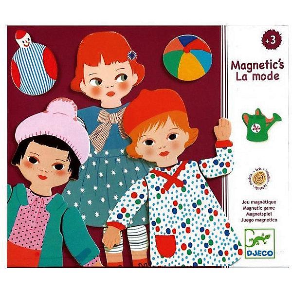 Развивающая магнитная игра Мода, DJECOНастольные игры для всей семьи<br>Набор для творчества с четырьмя милыми девочками понравится каждой малышке. Девочек можно одевать в коктейльные платья и пальто, примерять им новые ботиночки или подбирать сумочки. Набор в красочной упаковке станет отличным подарком для каждого ребенка. На спине каждой детали – магниты, которые позволяют крепить девочек на холодильник, магнитную доску или просто собирать набор на столе.<br><br>Ширина мм: 218<br>Глубина мм: 40<br>Высота мм: 188<br>Вес г: 480<br>Возраст от месяцев: 36<br>Возраст до месяцев: 1188<br>Пол: Унисекс<br>Возраст: Детский<br>SKU: 4761433