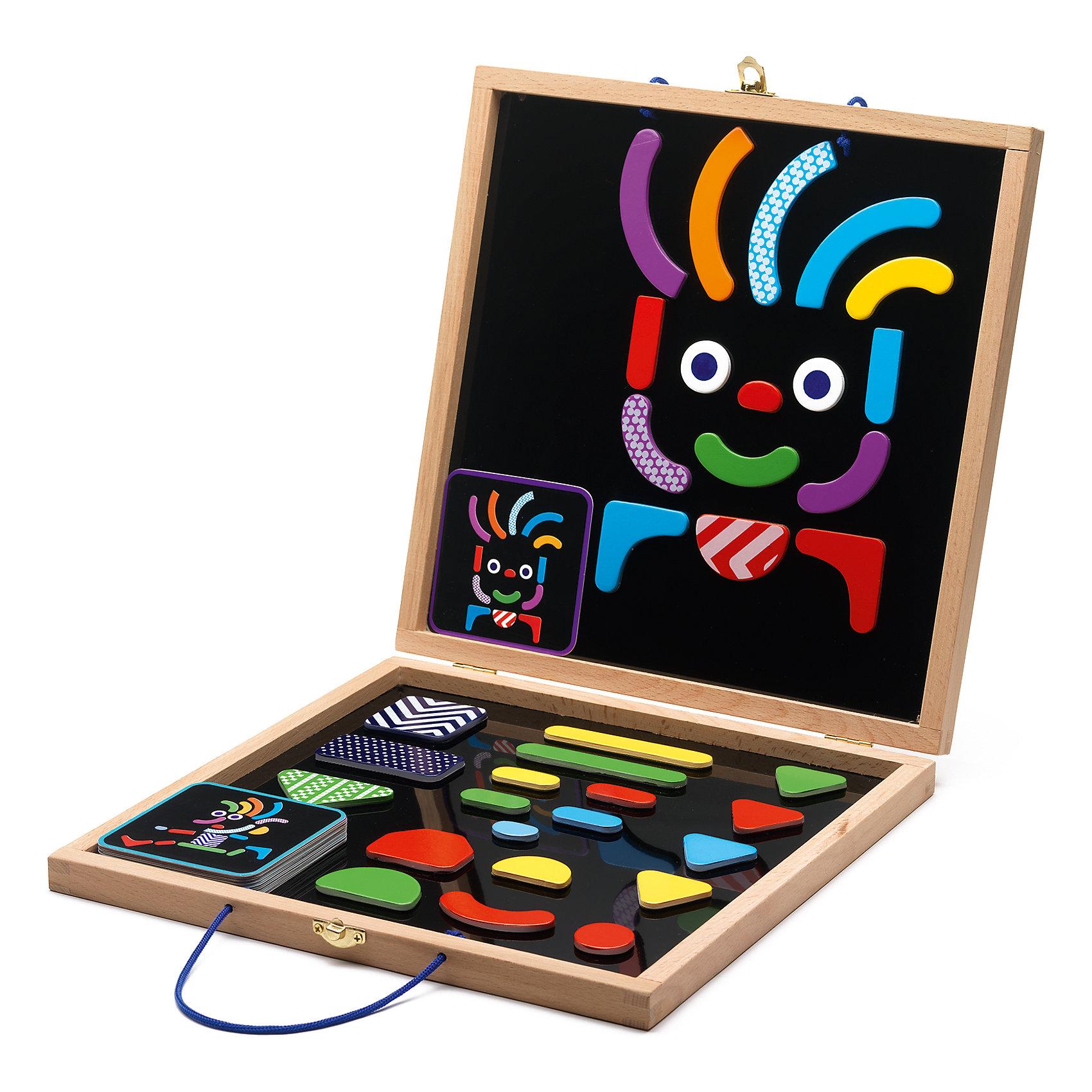 Развивающая магнитная игра Гео человечки, DJECOРазвивающие игры<br>Магнитная доска Гео-человечки. Эта игра содержит цветные яркие детали разных форм и размеров. Ваш ребенок сможет создавать интересные, оригинальные портреты на специальной магнитной доске. В этом наборе есть много карточек – подсказок с изображением забавных рожиц и человечков. Ваш малыш также сможет пофантазировать самому и создать своих собственных героев. Эта игра принесёт разнообразие в досуге Вашего ребёнка.<br><br>Ширина мм: 300<br>Глубина мм: 300<br>Высота мм: 40<br>Вес г: 1410<br>Возраст от месяцев: 36<br>Возраст до месяцев: 1188<br>Пол: Унисекс<br>Возраст: Детский<br>SKU: 4761435