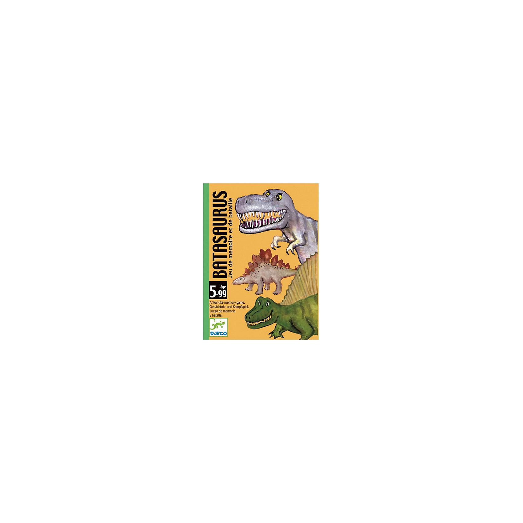 Карточная игра Динозавры, DJECOКарточные игры<br>Настольная карточная игра Динозавры – увлекательная стратегическая игра на внимательность и сообразительность. В наборе: 48 карточек «динозавры» (4 серии по 12 динозавров). Каждому динозавру присвоена определенная стоимость от 1 до 12 (12 - самая сильная карточка, 1 - самая слабая). Цель игры состоит в том, чтобы выиграть как можно больше раундов и заработать как можно больше карточек «динозавров».<br><br>Ширина мм: 90<br>Глубина мм: 120<br>Высота мм: 30<br>Вес г: 260<br>Возраст от месяцев: 36<br>Возраст до месяцев: 1188<br>Пол: Унисекс<br>Возраст: Детский<br>SKU: 4761443