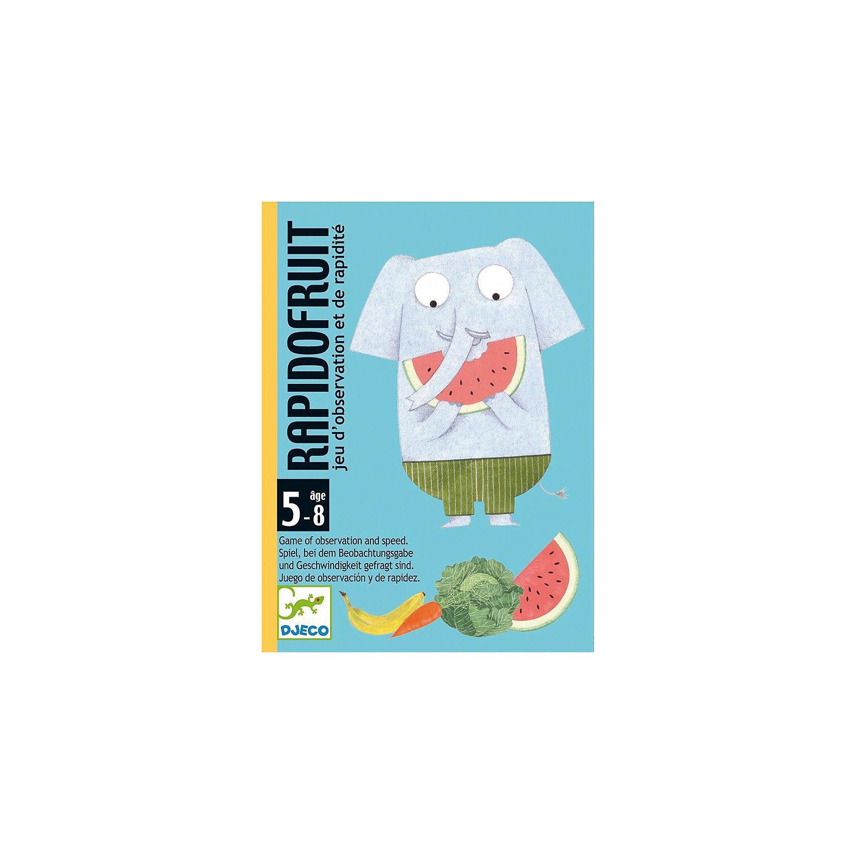 Карточная игра Быстрые фрукты, DJECOКарточные игры<br>Детская карточная игра Быстрые фрукты от французского производителя Djeco - увлекательная игра для детей и взрослых на скорость и сообразительность. <br><br>Правила игры Быстрые фрукты: <br><br>Целью игры является заработать карточек с изображениями фруктов или овощей больше, чем у других участников игры. <br><br>Игрокам раздаются карточки с изображением животных из колоды, после чего участники кладут их рядом с собой рубашкой вверх. Карточки с изображением фруктов/овощей кладутся в центр стола отдельной стопкой, лицевой стороной вверх. В начале хода участники переворачивают по первой карточке с изображением животных. <br><br>Если оказалось, что на столе есть карты с повторяющимися животными, игроки, у кого на руках эти карты, бьют рукой по стопке с карточками фруктов/овощей. Тот, кто успел первым, забирает 1 карточку. <br>Если оказалось, что на какой-либо из карточек игроков изображен такой же фрукт или овощ, что и на карточке в центре стола, участвуют все игроки - они также должны ударить по карточкам с фруктами/овощами, и успевший первым забирает 1 карточку. <br><br>В том случае, если один из участников ударил по карточкам с изображением фруктов/овощей по ошибке, он платит штраф - 1 карточку с фруктами/овощами из выигранных. <br><br>Игра заканчивается, когда заканчиваются карточки фрукты/овощи. Победившим считается собравший наибольшее количество карточек. <br><br>Изображения на карточках очень красочные и необычные. Малышам обязательно понравится не только играть с ними, но и рассматривать красивые картинки. <br><br>Игра продается в красочной яркой коробке, в которой можно хранить карточки. Игру удобно брать с собой в поездку или в гости. <br><br>Игра Быстрые фрукты прекрасно развивает быстроту реакции и наблюдательность ребенка, она станет прекрасным развлечением во время семейных вечером, а также подойдет для любого детского праздника. <br><br>Количество игроков: 2-4 человека.<br>Рекомендована для детей воз