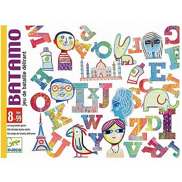 Карточная игра Батамо, DJECOНастольные игры для всей семьи<br>Детская карточная игра Батамо от французского производителя Djeco - увлекательная игра для детей и взрослых на скорость и сообразительность. <br><br>Правила игры Батамо: <br><br>На старт, внимание, марш! Каждый игрок переворачивает карту. Участники пытаются обогнать друг друга, составляя слово, которое подходит по буквам и теме перевернутой карты. Веселый смех во время игры гарантирован! Выигрывает самый быстрый. <br><br>Изображения на карточках очень красочные и необычные. Малышам обязательно понравится не только играть с ними, но и рассматривать красивые картинки. <br><br>Игра продается в красочной яркой коробке, в которой можно хранить карточки. Игру удобно брать с собой в поездку или в гости. <br><br>Игра Батамо прекрасно развивает быстроту реакции и наблюдательность ребенка, она станет прекрасным развлечением во время семейных вечером, а также подойдет для любого детского праздника. <br><br>Количество игроков: 2-4 человека.<br>Рекомендована для детей возрастом от 8 лет.<br>Ориентировочное время игры: 15-30 минут.<br>Количество карточек: 54.<br>Ширина мм: 30; Глубина мм: 160; Высота мм: 120; Вес г: 290; Возраст от месяцев: 36; Возраст до месяцев: 1188; Пол: Унисекс; Возраст: Детский; SKU: 4761448;