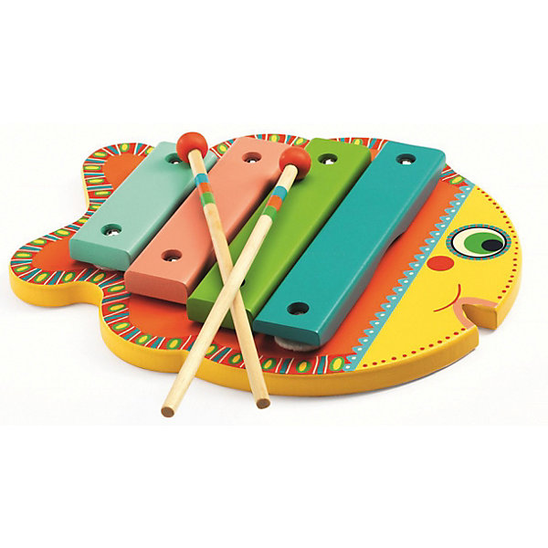 Ксилофон, DJECOКсилофоны<br>Яркий и красочный ксилофон станет прекрасной игрушкой даже для самых маленьких меломанов. Ксилофон в виде рыбки состоит из 4-х клавиш и 2-х палочек, с помощью которых ваш малыш будет создавать новые мелодии. Увлекательный ксилофон в красивой подарочной упаковке станет прекрасным подарком и непременно порадует каждого малыша. Ксилофон сделан из высококачественного дерева, покрыт безопасными нетоксичными красками.<br>Ширина мм: 30; Глубина мм: 230; Высота мм: 190; Вес г: 480; Возраст от месяцев: 36; Возраст до месяцев: 1188; Пол: Унисекс; Возраст: Детский; SKU: 4761452;