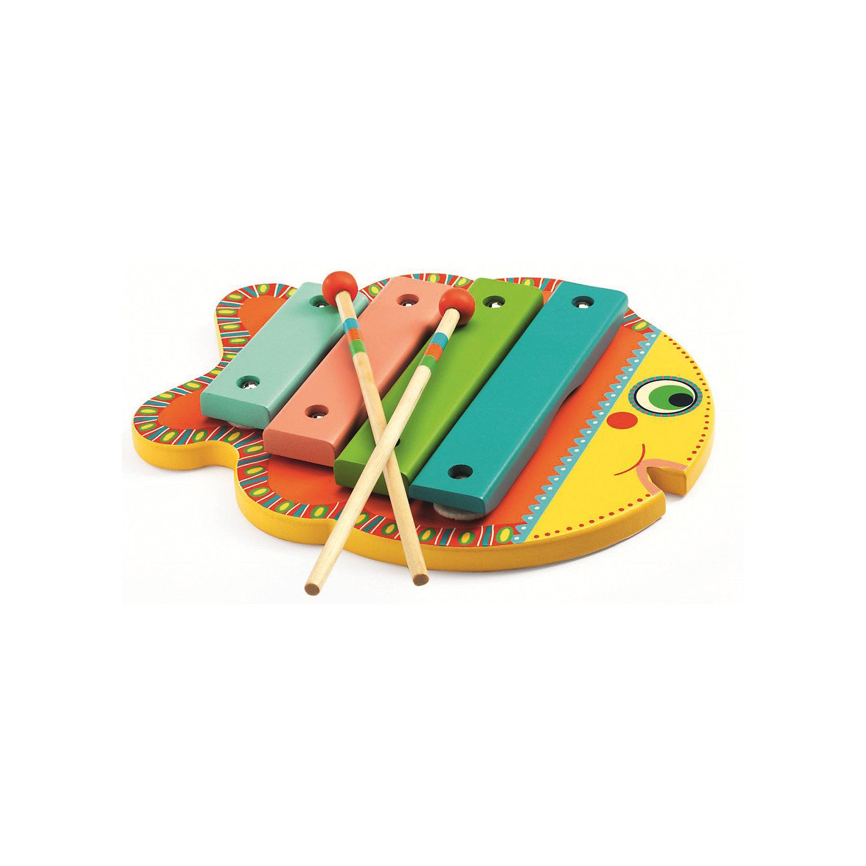 Ксилофон, DJECOДетские музыкальные инструменты<br>Яркий и красочный ксилофон станет прекрасной игрушкой даже для самых маленьких меломанов. Ксилофон в виде рыбки состоит из 4-х клавиш и 2-х палочек, с помощью которых ваш малыш будет создавать новые мелодии. Увлекательный ксилофон в красивой подарочной упаковке станет прекрасным подарком и непременно порадует каждого малыша. Ксилофон сделан из высококачественного дерева, покрыт безопасными нетоксичными красками.<br><br>Ширина мм: 30<br>Глубина мм: 230<br>Высота мм: 190<br>Вес г: 480<br>Возраст от месяцев: 36<br>Возраст до месяцев: 1188<br>Пол: Унисекс<br>Возраст: Детский<br>SKU: 4761452