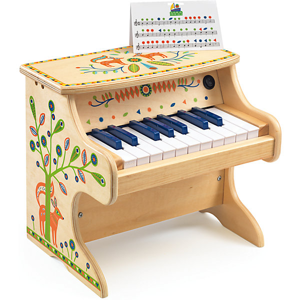 Электронное пианино,, DJECOДетские музыкальные инструменты<br>Детское электронное Пианино от французской компании Djeco - великолепный музыкальный инструмент, с помощью которого ребенок будет развивать свои творческие и любовь к музыке. Пианино выполнено из дерева, украшено интересными изображениями лесных животных и различными узорами. На пианино есть 18 клавиш, с помощью которых ребенок будет воспроизводить мелодии. Для работы пианино необходимы элементы питания: 4 батарейки АА (не входят в комплект). <br>Игра с детскими музыкальными инструментами способствует развитию тактильных навыков, мелкой моторики детских ручек. Кроме того, это способствует dоспитанию музыкального слуха и чувства ритма.<br><br>Ширина мм: 330<br>Глубина мм: 250<br>Высота мм: 280<br>Вес г: 1200<br>Возраст от месяцев: 36<br>Возраст до месяцев: 1188<br>Пол: Унисекс<br>Возраст: Детский<br>SKU: 4761453