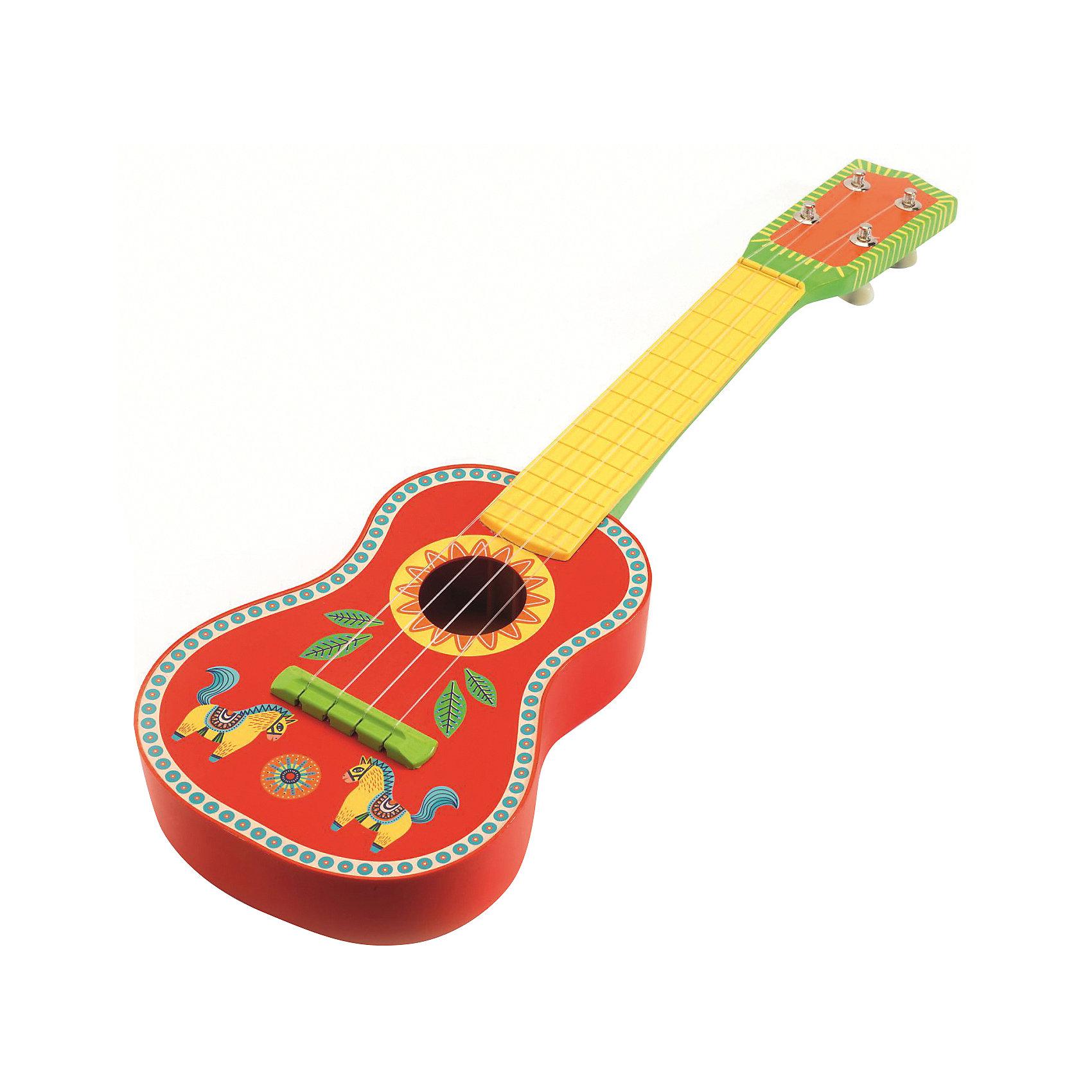 Гитара, DJECOКрасивая звонкая гитара от Djeco станет прекрасным подарком для каждого юного меломана. Деревянная гитара раскрашена яркими красками, имеет хороший звук и удобные размеры для маленьких детских ручек. Новая гитара от Djeco станет прекрасным пополнением к остальной коллекции музыкальных инструментов.<br><br>Ширина мм: 70<br>Глубина мм: 200<br>Высота мм: 550<br>Вес г: 770<br>Возраст от месяцев: 36<br>Возраст до месяцев: 1188<br>Пол: Унисекс<br>Возраст: Детский<br>SKU: 4761455