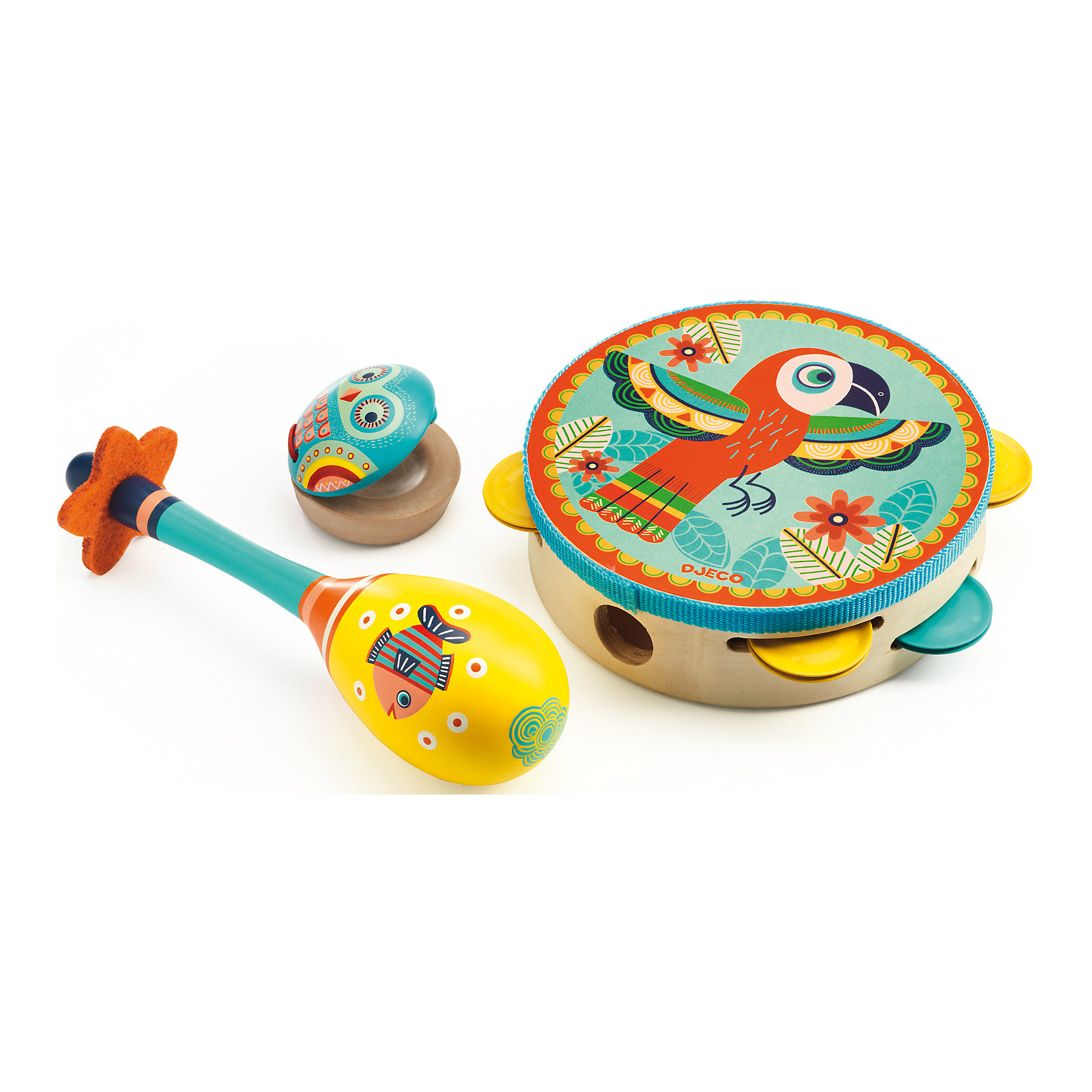 Набор музыкальных инструментов, DJECOДетские музыкальные инструменты<br>Набор музыкальных инструментов от французского производителя Djeco – великолепный набор, состоящий из маракаса, кастаньет и бубна, с помощью которого ребенок будет развивать свои творческие и музыкальные способности. <br><br>Все инструменты в наборе очень яркие и красочные. На их корпусе изображены забавные животные, а также различные орнаменты и узоры. На этих инструментах можно играть как в одиночку, так и в компании, создав свой собственный импровизированный мини-оркестр! <br><br>Игра на детских музыкальных инструментах прекрасно развивает музыкальный слух, творческие способности малыша, координацию движений и детскую моторику.<br><br>Ширина мм: 310<br>Глубина мм: 170<br>Высота мм: 60<br>Вес г: 600<br>Возраст от месяцев: 36<br>Возраст до месяцев: 1188<br>Пол: Унисекс<br>Возраст: Детский<br>SKU: 4761456