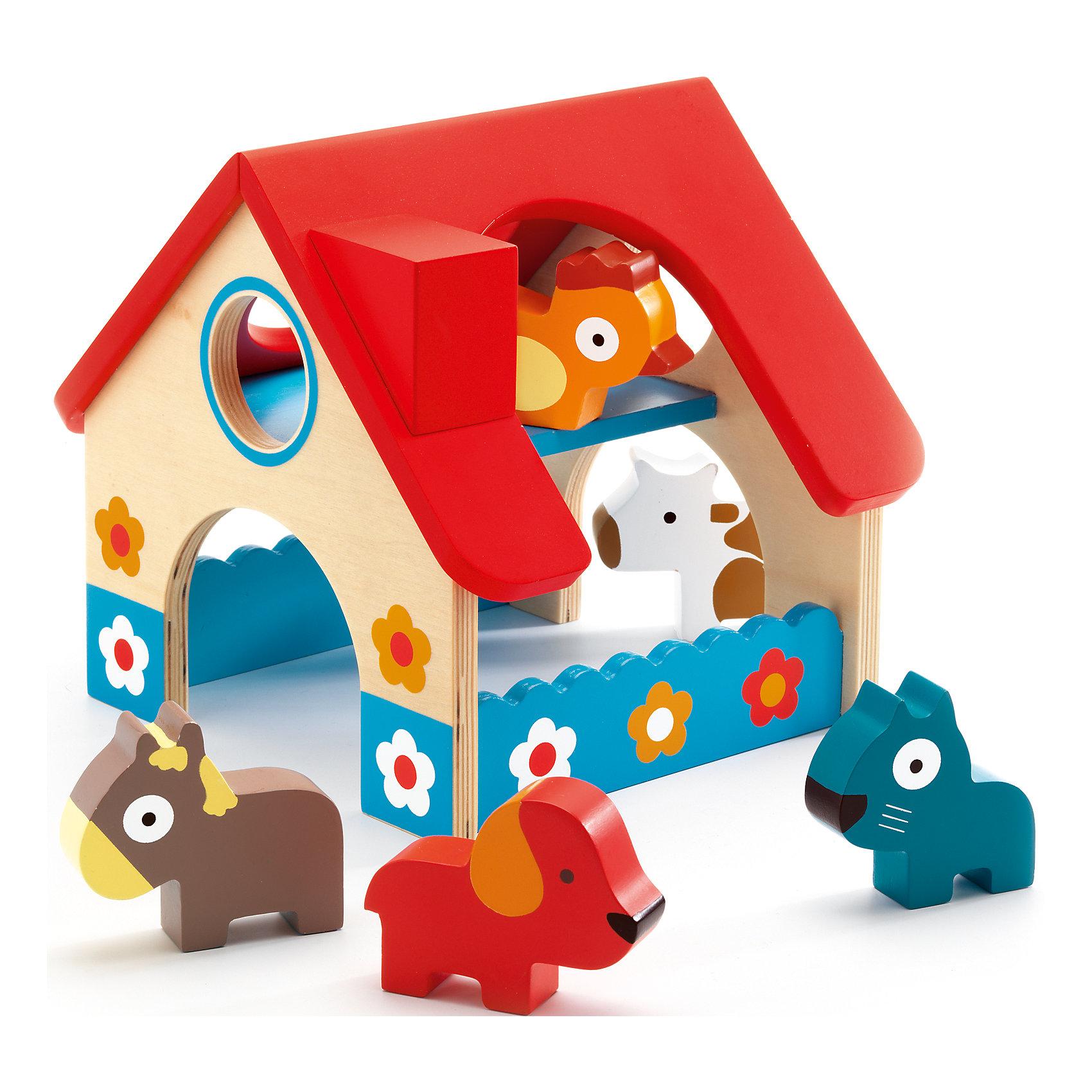 Деревянная ферма, 5 животных, DJECOРазвивающие игрушки<br>Деревянная ферма, 5 животных, DJECO (Джеко)<br><br>Характеристики:<br><br>• приятные цвета<br>• безопасные материалы<br>• материал: дерево<br>• размер упаковки: 16х8х16 см<br><br>Восхитительные зверята из дерева спешат устроить веселые игры с вашим малышом. В комплект входит ферма и 5 животных: кот, собака, лошадь, петух, корова. Ребенок сможет придумать удивительную историю, которая могла бы произойти с этими животными. Игрушки изготовлены из дерева и покрыты безопасными красками. Игра с фигурками развивает воображение, моторику рук и зрительную память<br><br>Деревянную ферму, 5 животных, DJECO (Джеко) вы можете купить в нашем интернет-магазине.<br><br>Ширина мм: 160<br>Глубина мм: 180<br>Высота мм: 160<br>Вес г: 580<br>Возраст от месяцев: 36<br>Возраст до месяцев: 1188<br>Пол: Унисекс<br>Возраст: Детский<br>SKU: 4761458