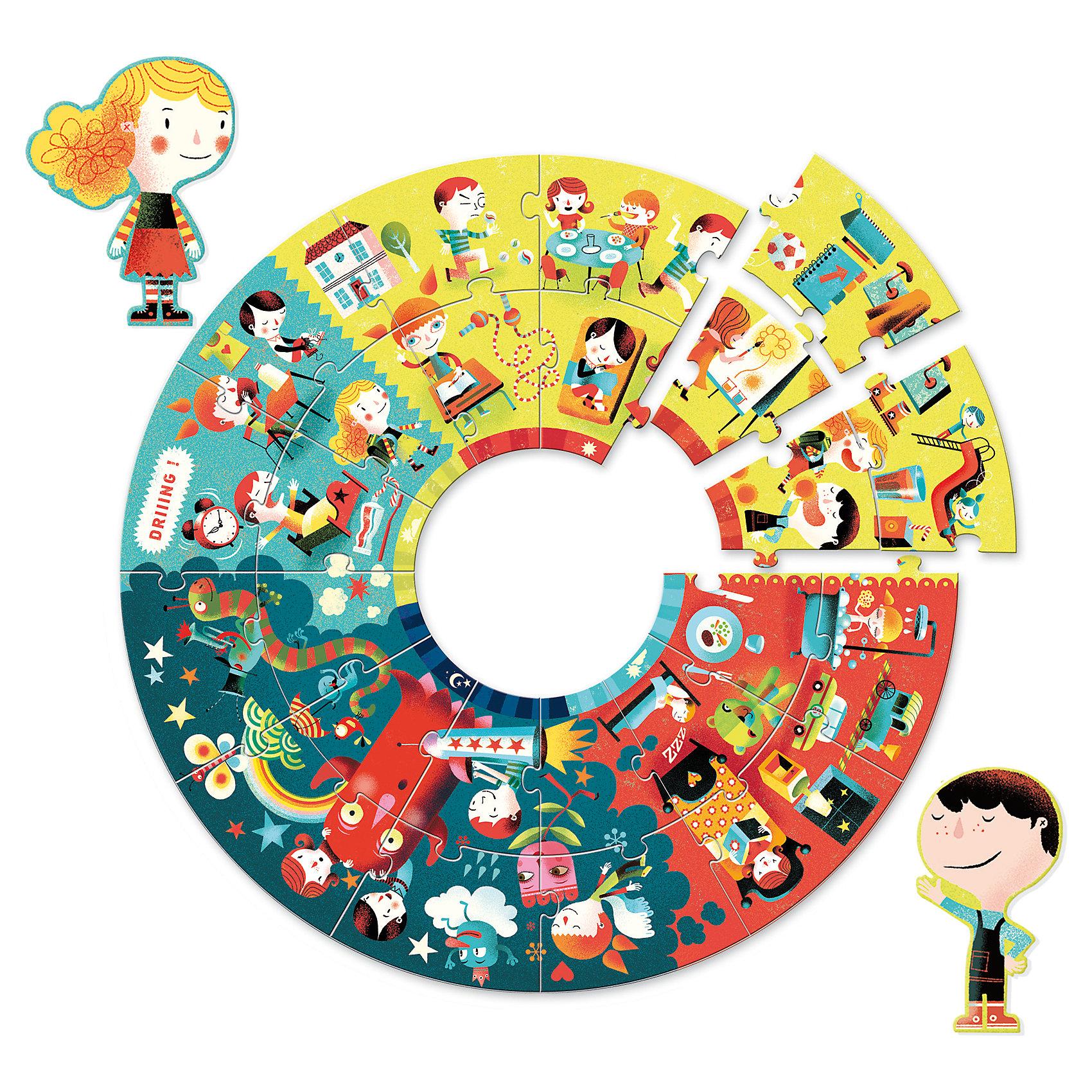Пазл События дня, 24 детали, DJECOПазлы до 24 деталей<br>Пазл События дня от французского производителя игрушек Djeco – увлекательный набор, который надолго увлечет ребенка и станет превосходным развивающим подарком. В наборе ребенок найдет множество красочных интересных деталей, которые нужно собрать в один большой круглый пазл. Пазл очень яркий и интересный. На нем изображены картинки с распорядком дня детей и взрослых. В комплекте есть также 2 детали в виде человечков, одетых в разные наряды. <br>Диаметр собранного пазла: 65 см. Пазл состоит из 24 деталей.<br><br>Ширина мм: 330<br>Глубина мм: 260<br>Высота мм: 60<br>Вес г: 950<br>Возраст от месяцев: 36<br>Возраст до месяцев: 1188<br>Пол: Унисекс<br>Возраст: Детский<br>SKU: 4761460
