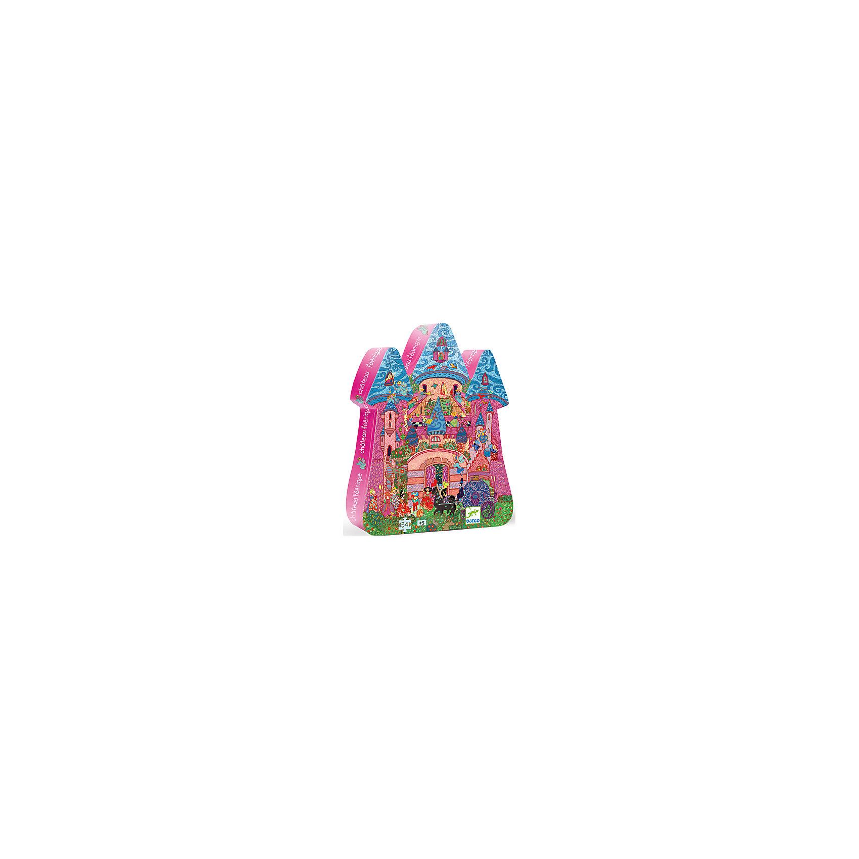Пазл Сказочный замок, 54 детали, DJECOдо 100 деталей<br>Пазл Сказочный замок от фирмы Djeco произведет впечатление на маленьких любителей неторопливого развлечения. Мозаика - увлекательное занятие для всей семьи. По картинке необходимо собрать целое изображение из 54 деталей разной формы. Подбирая необходимые пазлы по цветам и изображенным деталям, дети учатся мыслить логически, развивается память и внимание. Используя в игре маленькие предметы, ребенок тренирует мелкую моторику пальцев рук. На картинке очень много ярких маленьких деталей. Шумный праздничный город, в котором проживает много людей, у каждого своя комната в замке и своя история. Когда пазл будет собран, ребенок увидит картину реальной жизни в мифическом городе. Фантазируя, он может описать ее и придумать сюжет дальнейшего развития. Игрушки фирмы Djeco носят образовательный и развлекательный характер, развивают воображение и художественный вкус. Вся выпускаемая продукция отвечает высоким стандартам качества и безопасна для здоровья детей. В наборе 54 детали.<br><br>Ширина мм: 300<br>Глубина мм: 230<br>Высота мм: 60<br>Вес г: 760<br>Возраст от месяцев: 36<br>Возраст до месяцев: 1188<br>Пол: Унисекс<br>Возраст: Детский<br>SKU: 4761461