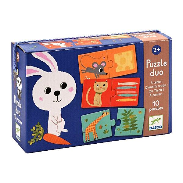 Пазл - дуо «К столу!», 20 деталей, DJECOПазлы для малышей<br>Пазл-дуо К столу! - это великолепная развивающая игра от французского производителя Джеко (Djeco) для малышей в возрасте от 2-х лет! Пазл-дуо К столу! - это первые пазлы для Вашего малыша, которые познакомят ребенка с милыми животными и расскажут ему, кто чем питается. Косолапый мишка кушает мёд, панда грызет бамбук, собачка обожает грызть косточки, а обезьяна лакомится бананами. Пазл – дуо способствует развитию усидчивости, логическому мышлению, помогает ребенку устанавливать причинно-следственные связи. В комплекте: 10 пазлов из 20 деталей.<br>Ширина мм: 60; Глубина мм: 190; Высота мм: 120; Вес г: 330; Возраст от месяцев: 36; Возраст до месяцев: 1188; Пол: Унисекс; Возраст: Детский; SKU: 4761462;