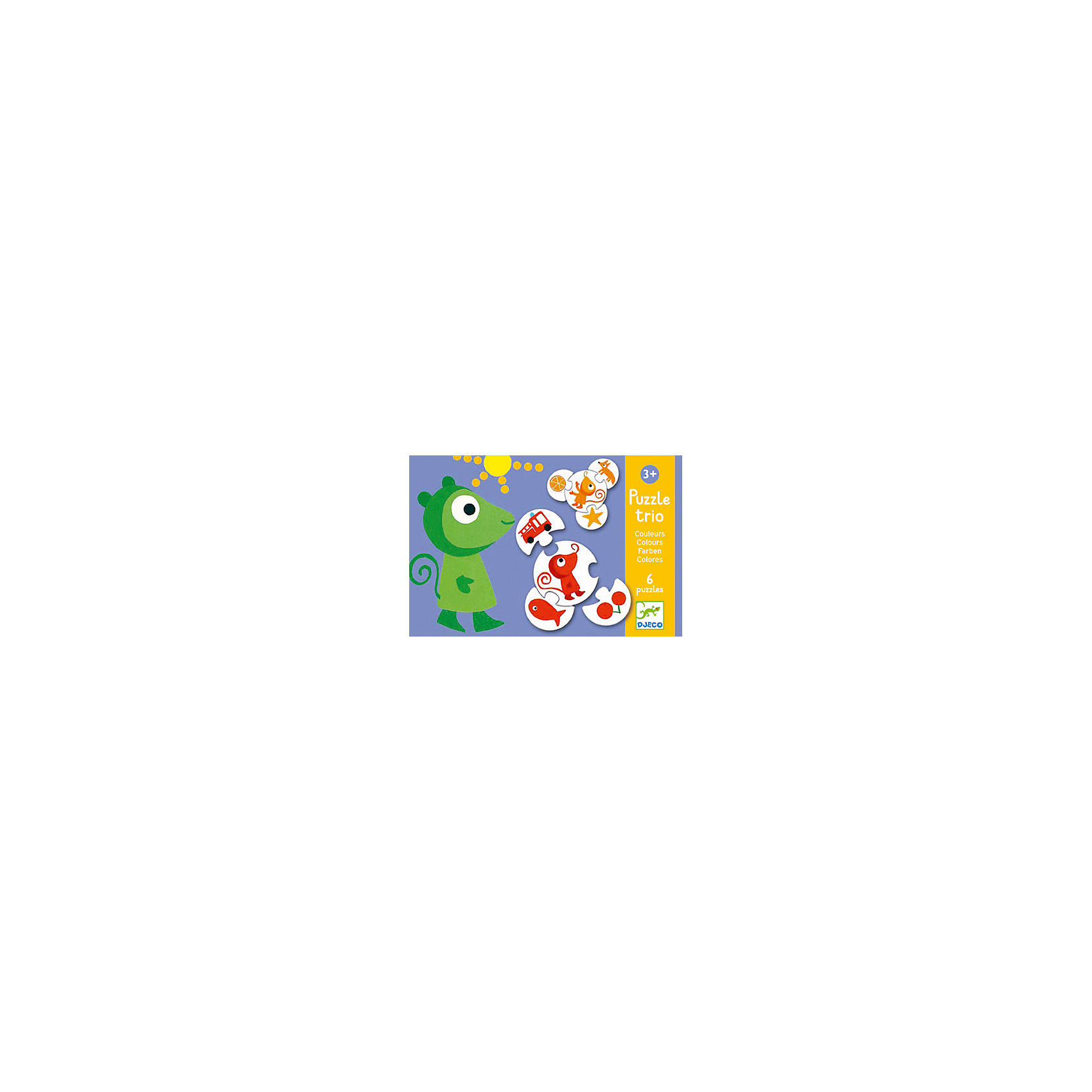 DJECO Пазл трио Цвета, 24 детали, DJECO развивающая игрушка djeco зверюшки попрыгунчики пастель 06105